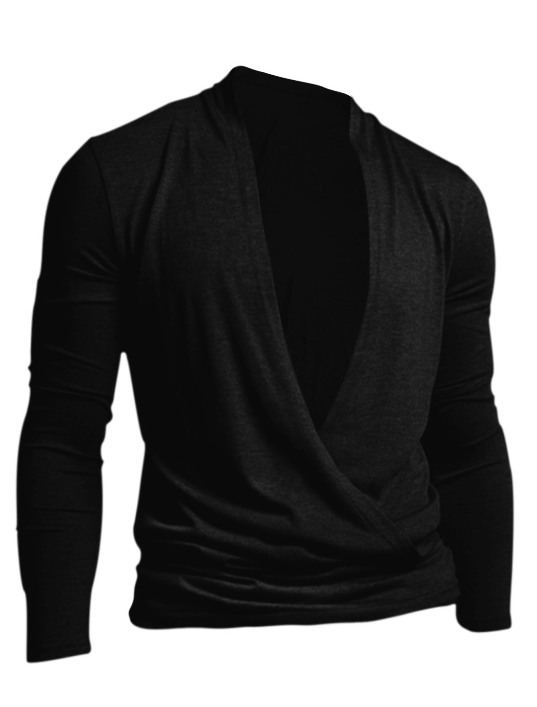 Men Crossover V Neck Long Sleeve Drape Front Soft Cardigan Black M
