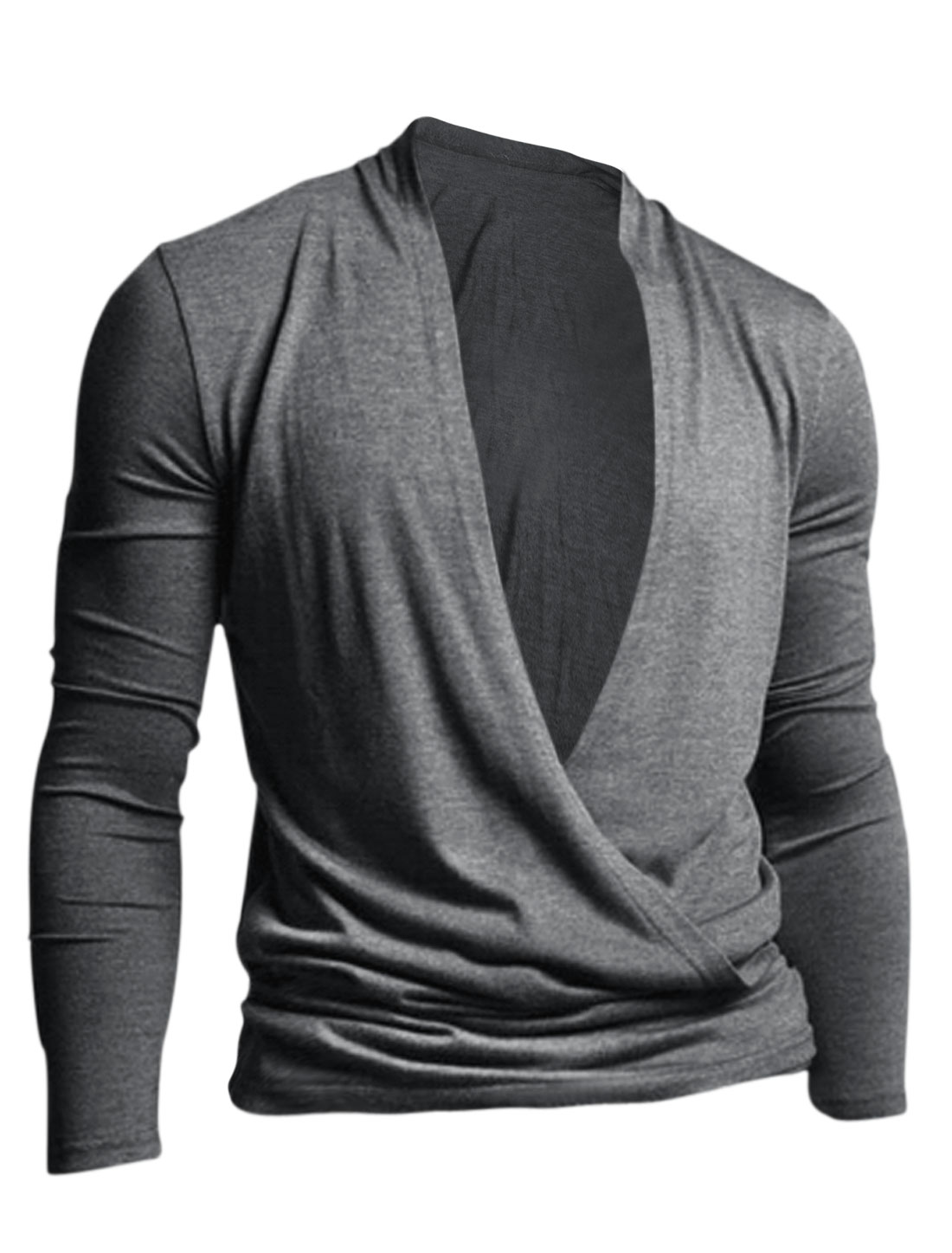 Men Long Sleeve Two Way Wearing Stylish Cardigan Heather Gray M