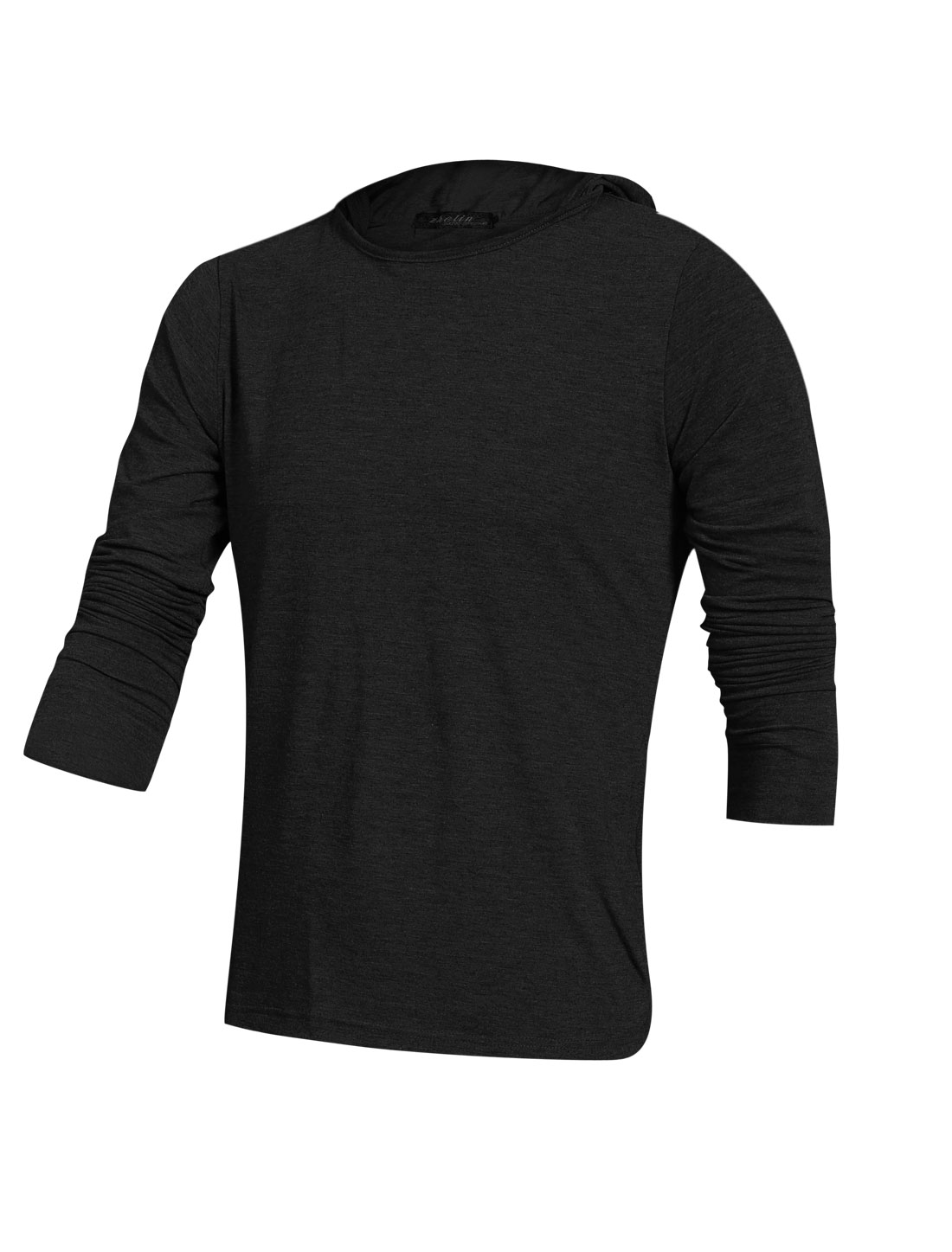 Men Hooded Long Sleeve Leisure Design Pullover Top Black M