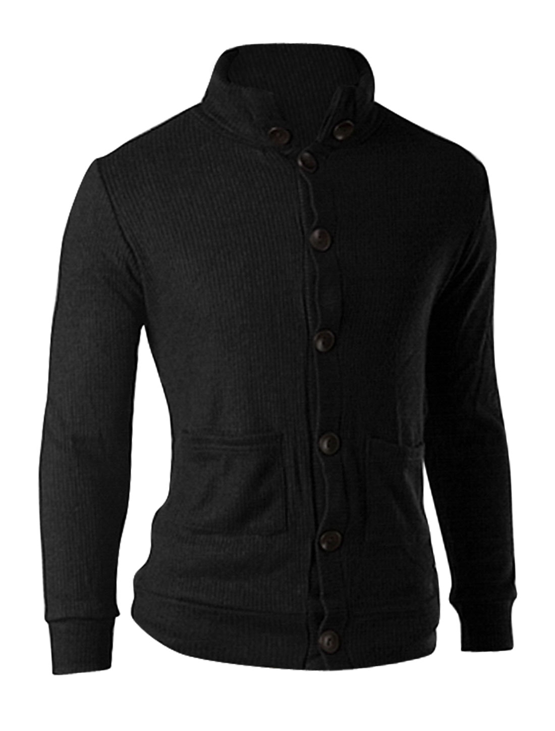 Men Stand Collar Long Sleeve Button Down Chic Knitted Cardigan Black M