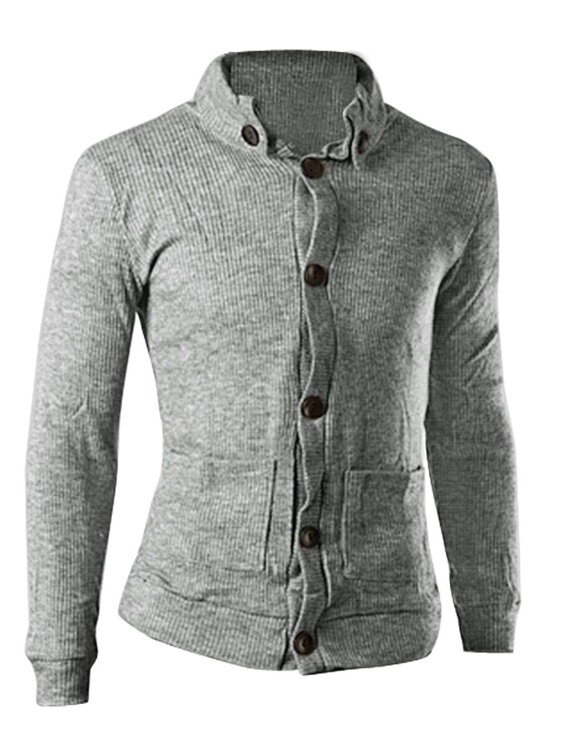Men Stand Collar Two Front Pockets Casual Knitted Cardigan Heather Gray M
