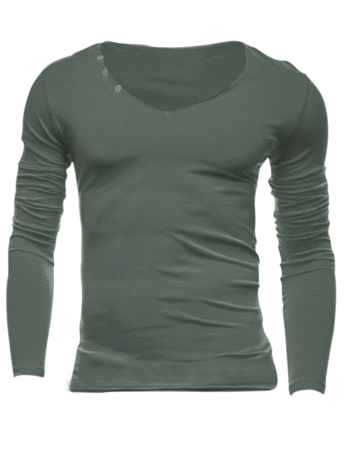 Men Seamless Round Neck Buttons Decor Casual Slim Tee Shirt Taupe M