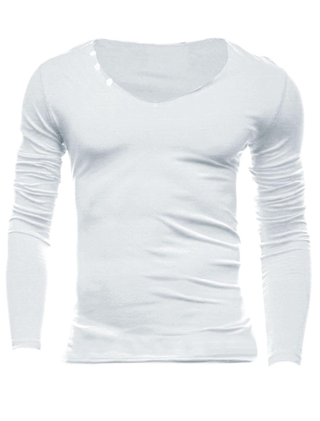 Men Pullover Round Neck Buttons Decor Casual Slim Tee Shirt White M