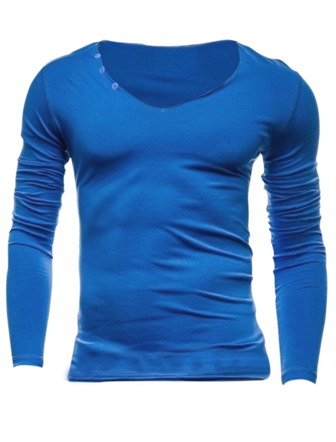 Men Pullover Round Neck Buttons Decor Leisure T-Shirt Royal Blue M