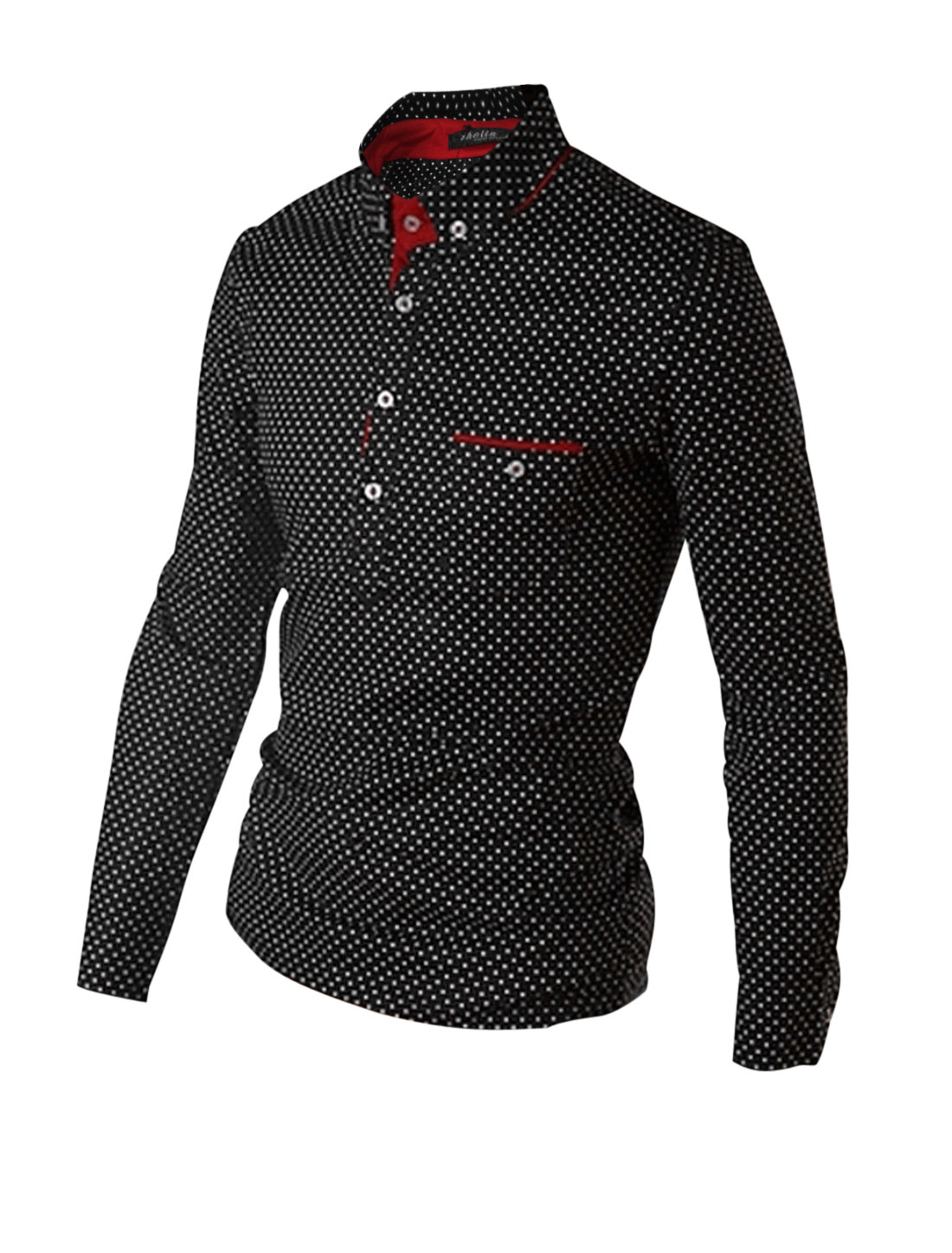 Men Point Collar Long Sleeves Dots Slim Fit Pullover Casual Shirt Black M
