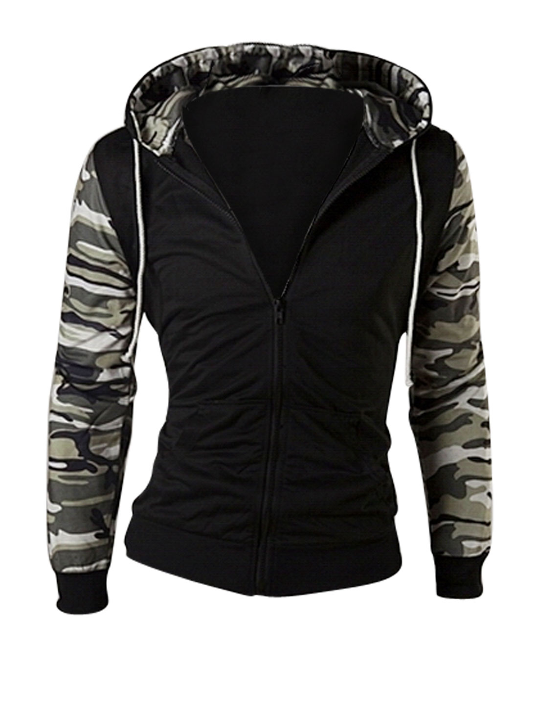 Men Camouflage Pattern Hooded Zip Up Jacket Black Beige M