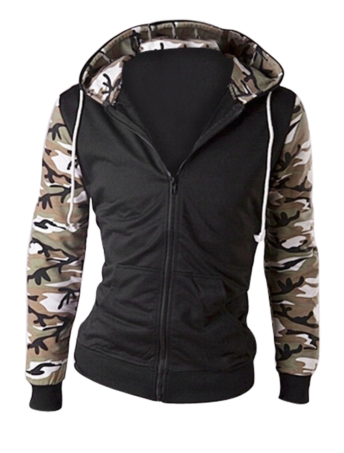 Men Zip Closure Hooded Camouflage Pattern Fashion Jacket Coffee Black M