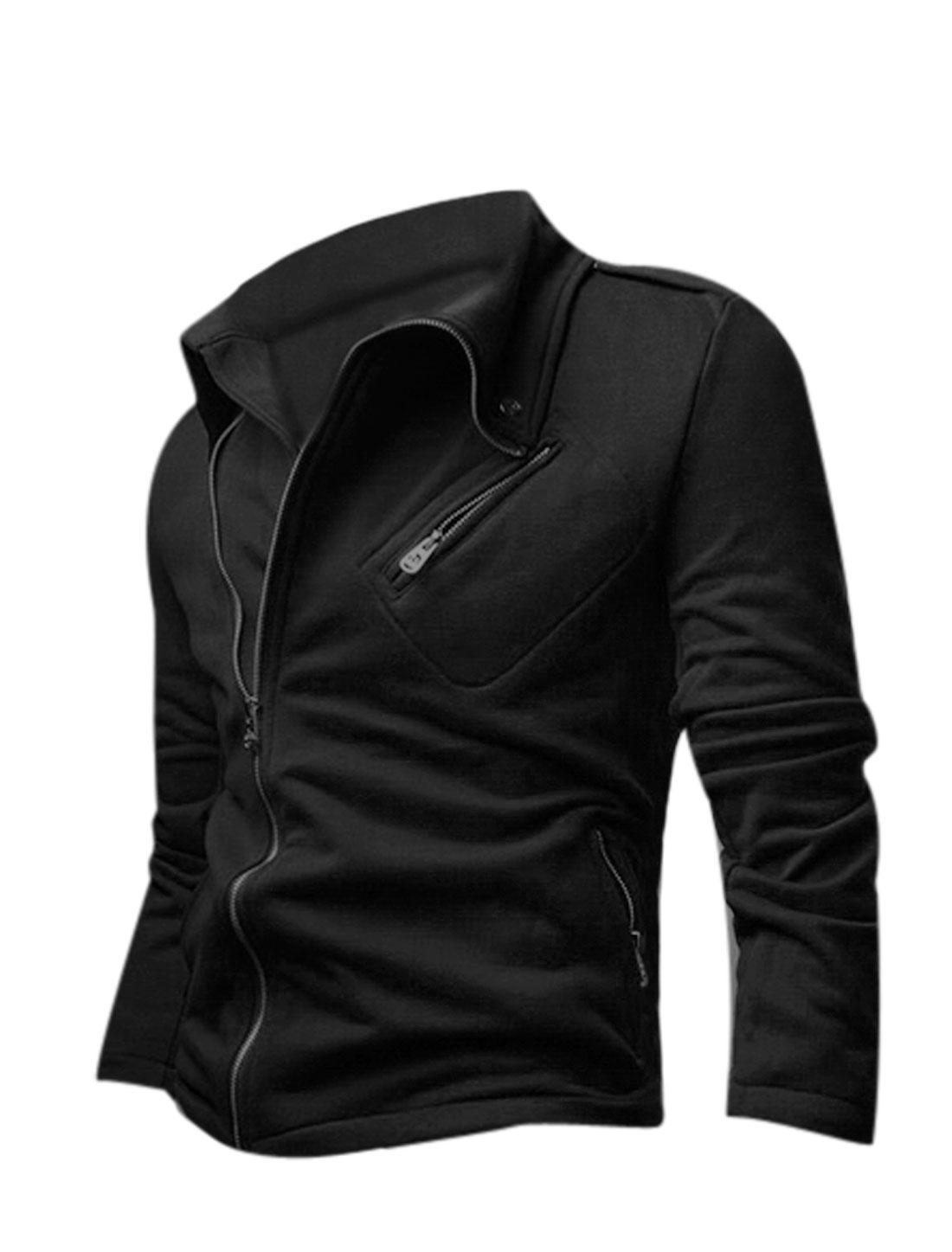 Men Turn Down Collar Long Sleeve Zip Up Casual Jacket Black M