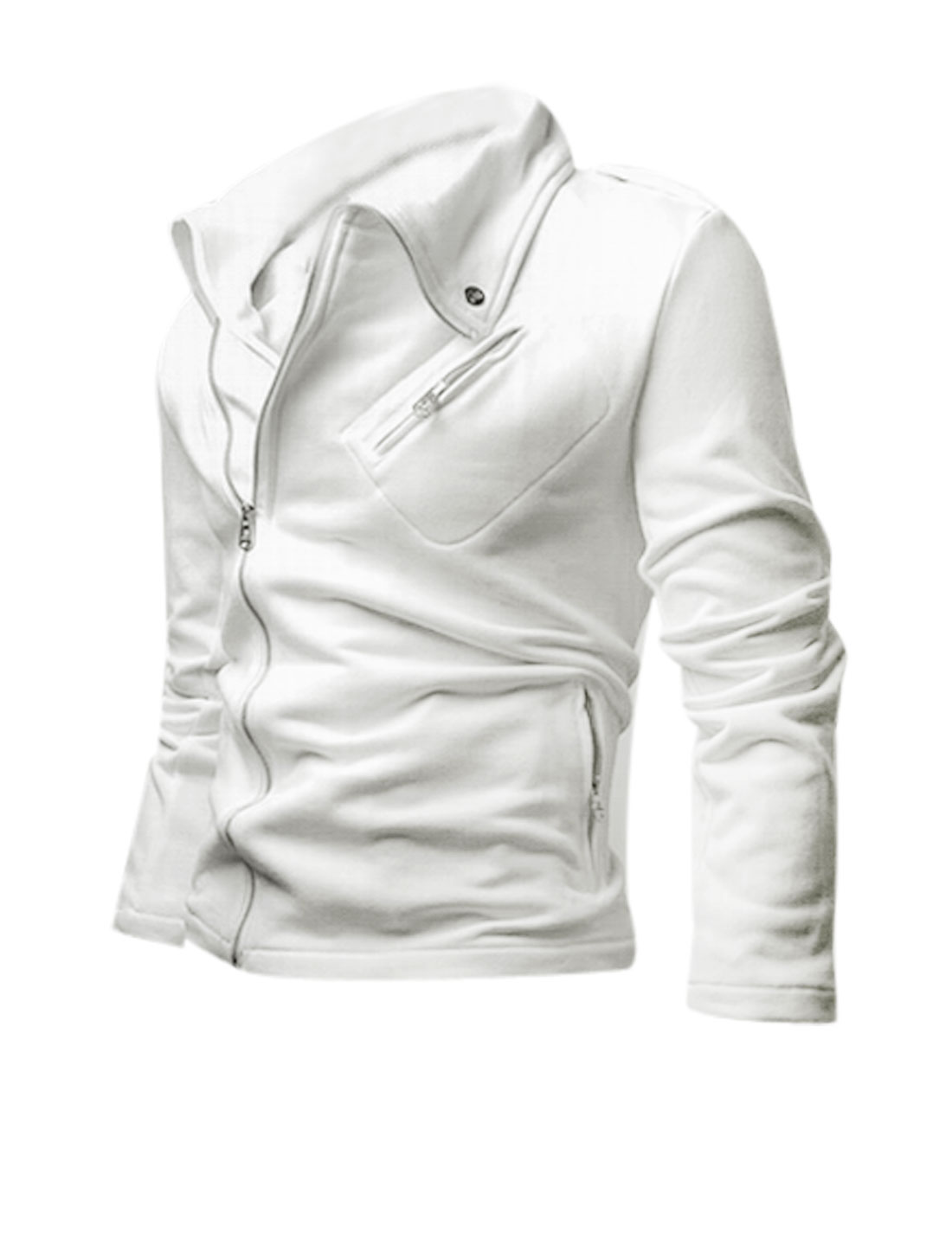 Man Long Sleeves Button-tab Shoulder Zip Closed White Casual Jacket M