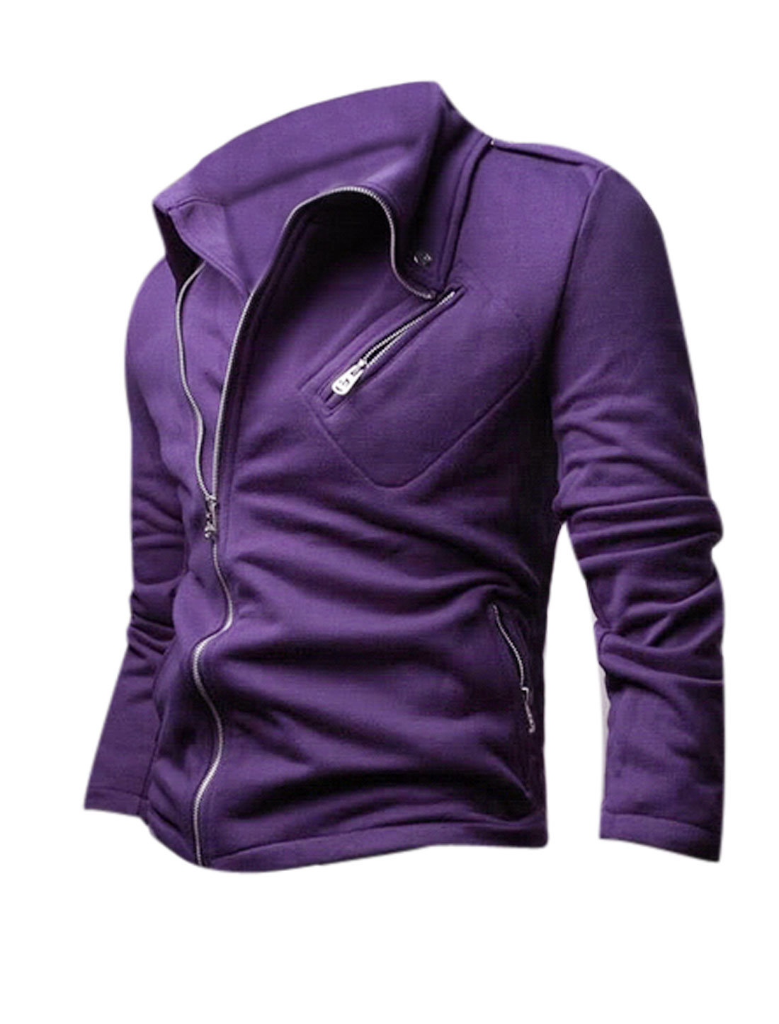 Long Sleeves One Chest Pocket Zip Up Purple Casual Jacket for Men M