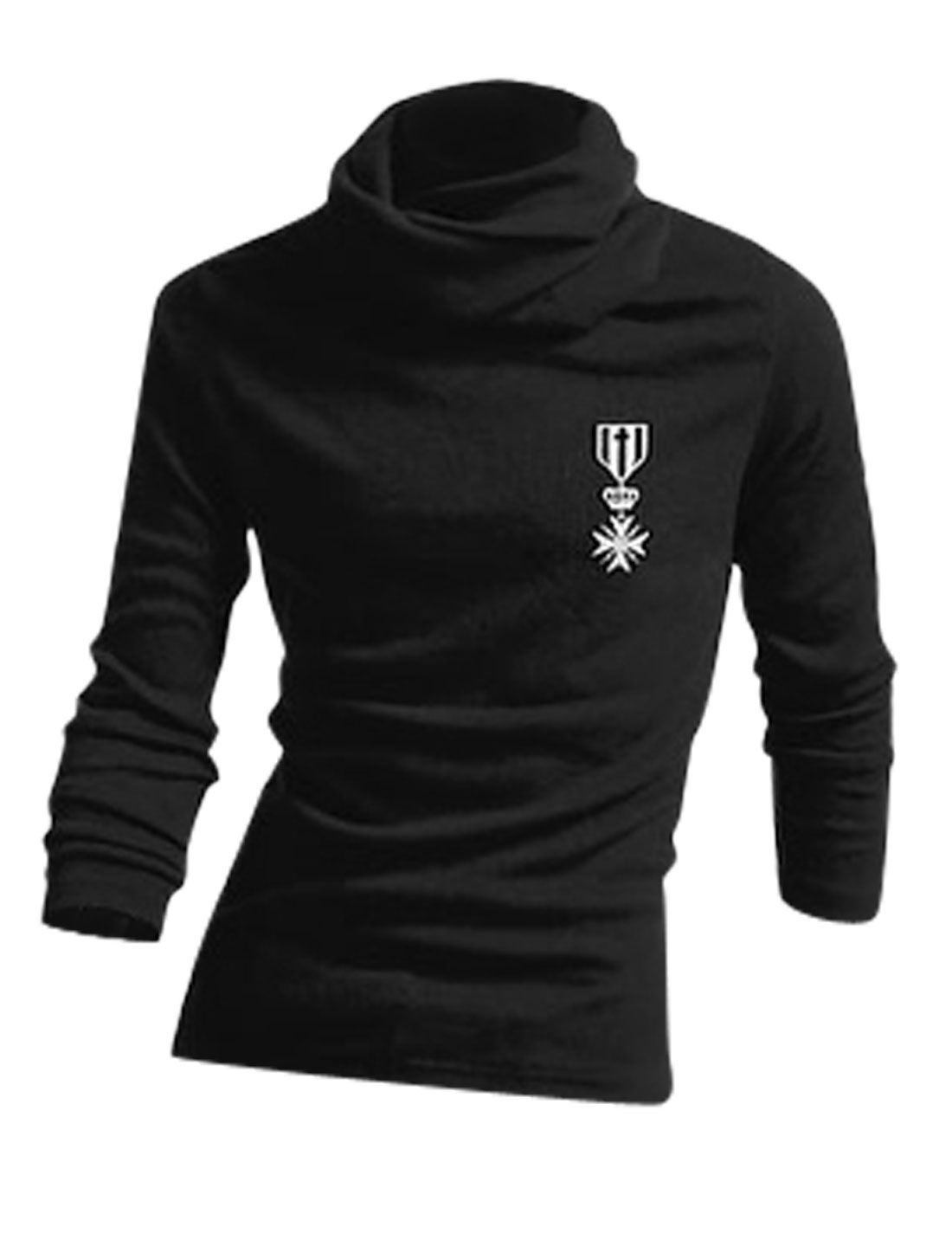 Men Cowl Neck Medal Printed Pullover Casual Top Shirt Black M