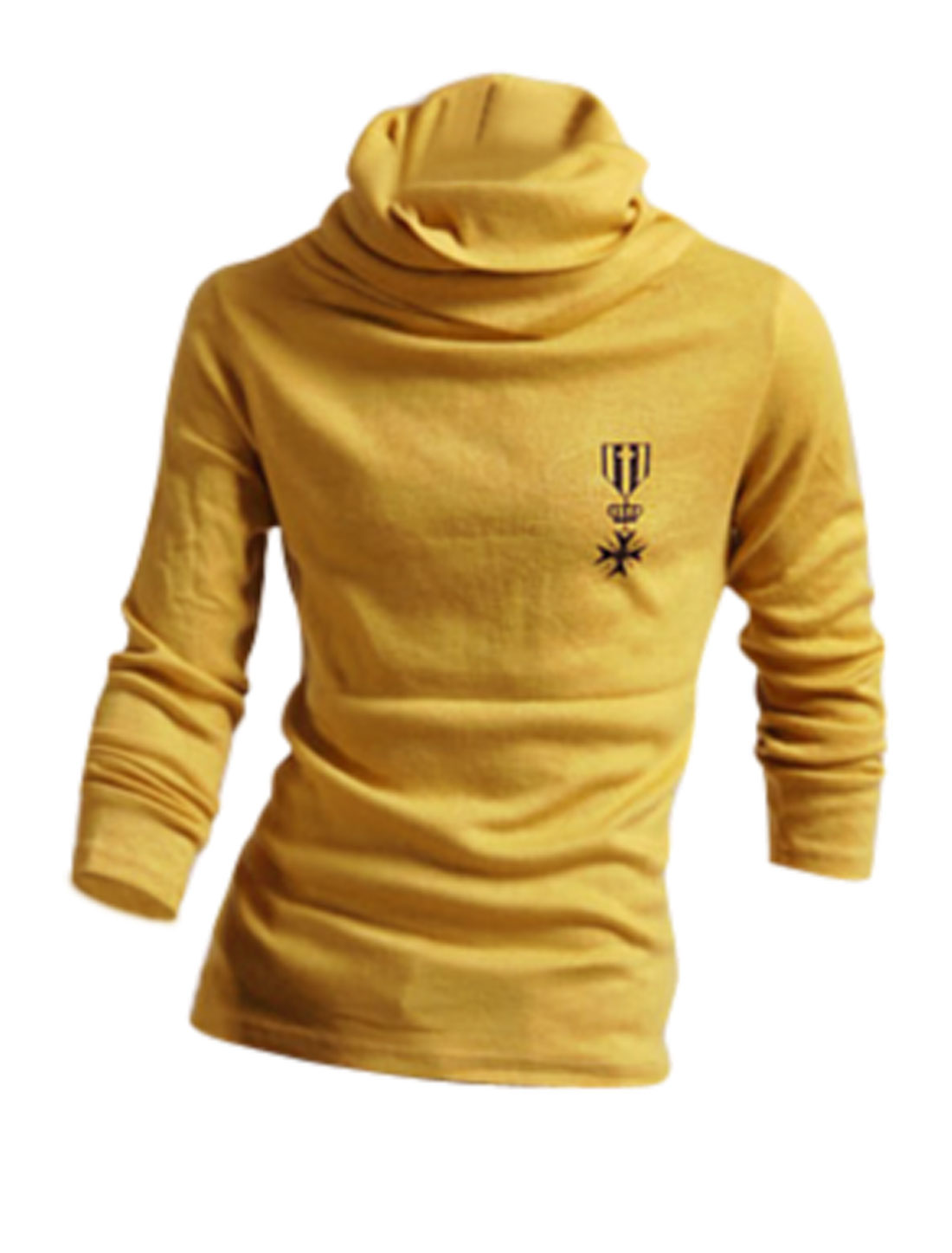Men Cowl Neck Long Sleeves Pullover Casual Top Shirt Yellow M