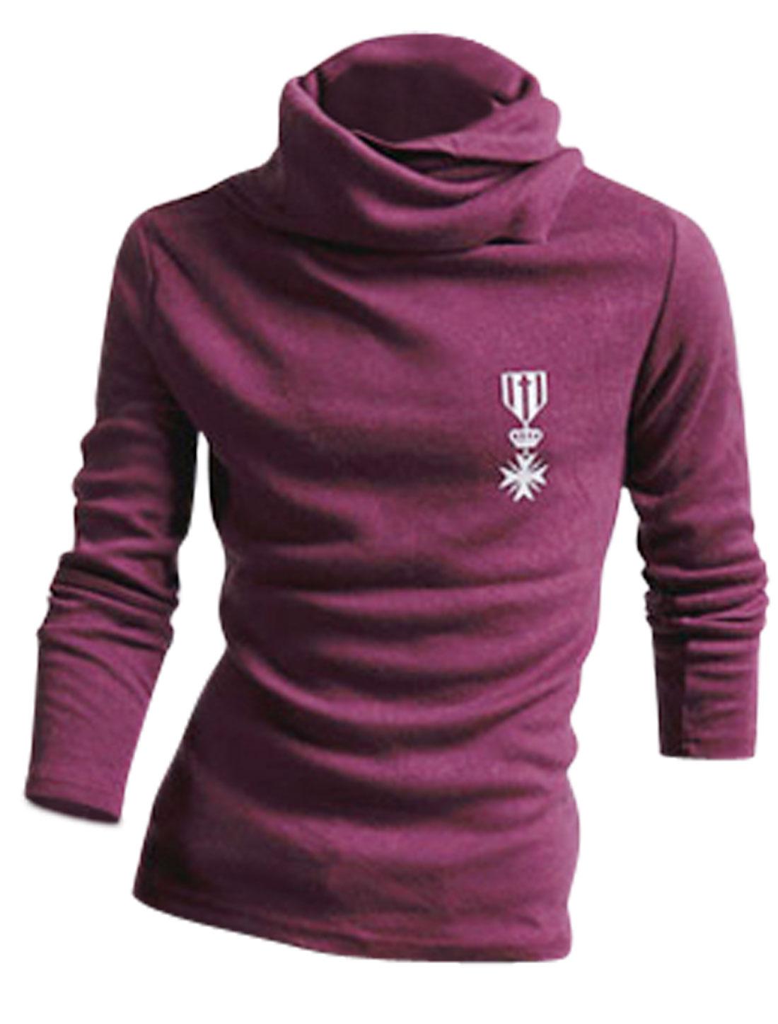 Men Cowl Neck Long Sleeves Autumn Wearing Top Shirt Purple M