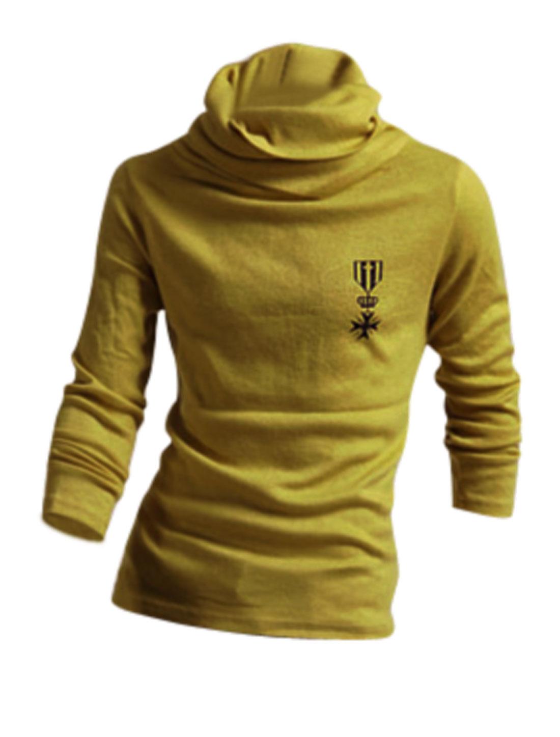 Men Cowl Neck Design Autumn Slim Top Shirt Olive Green M