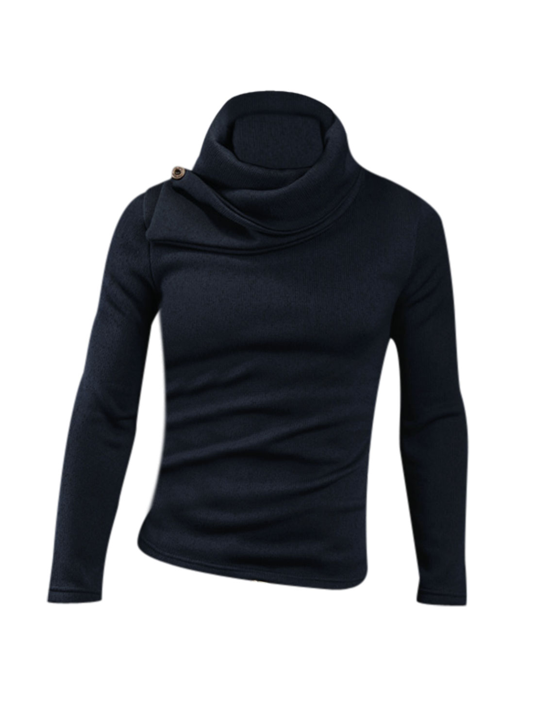 Men Navy Blue Cowl Collar Long Sleeve Pullover Cozy Fit Knit Shirt M