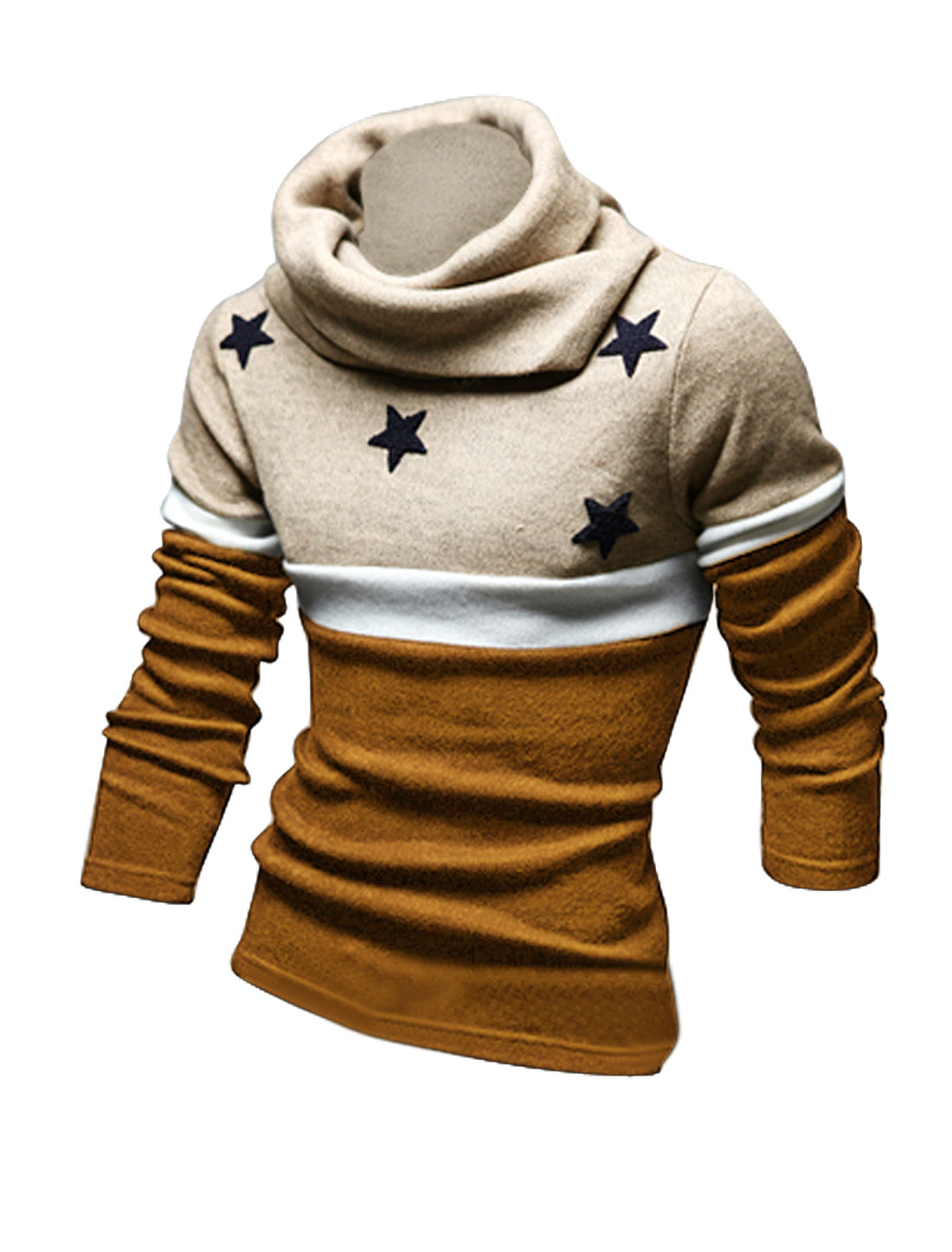 Men Coffee Turtle Neck Stars Applique Long Sleeves Color Block Knit Shirt L