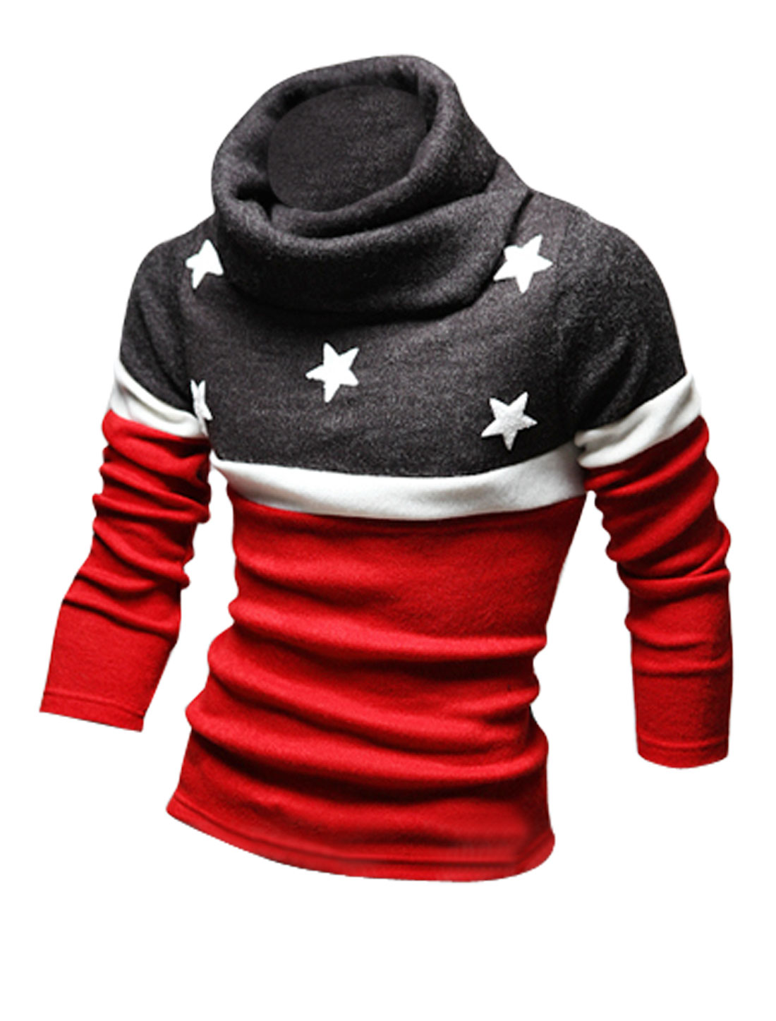 Men Red Turtle Neck Stars Applique Long Sleeves Color Block Knit Shirt L
