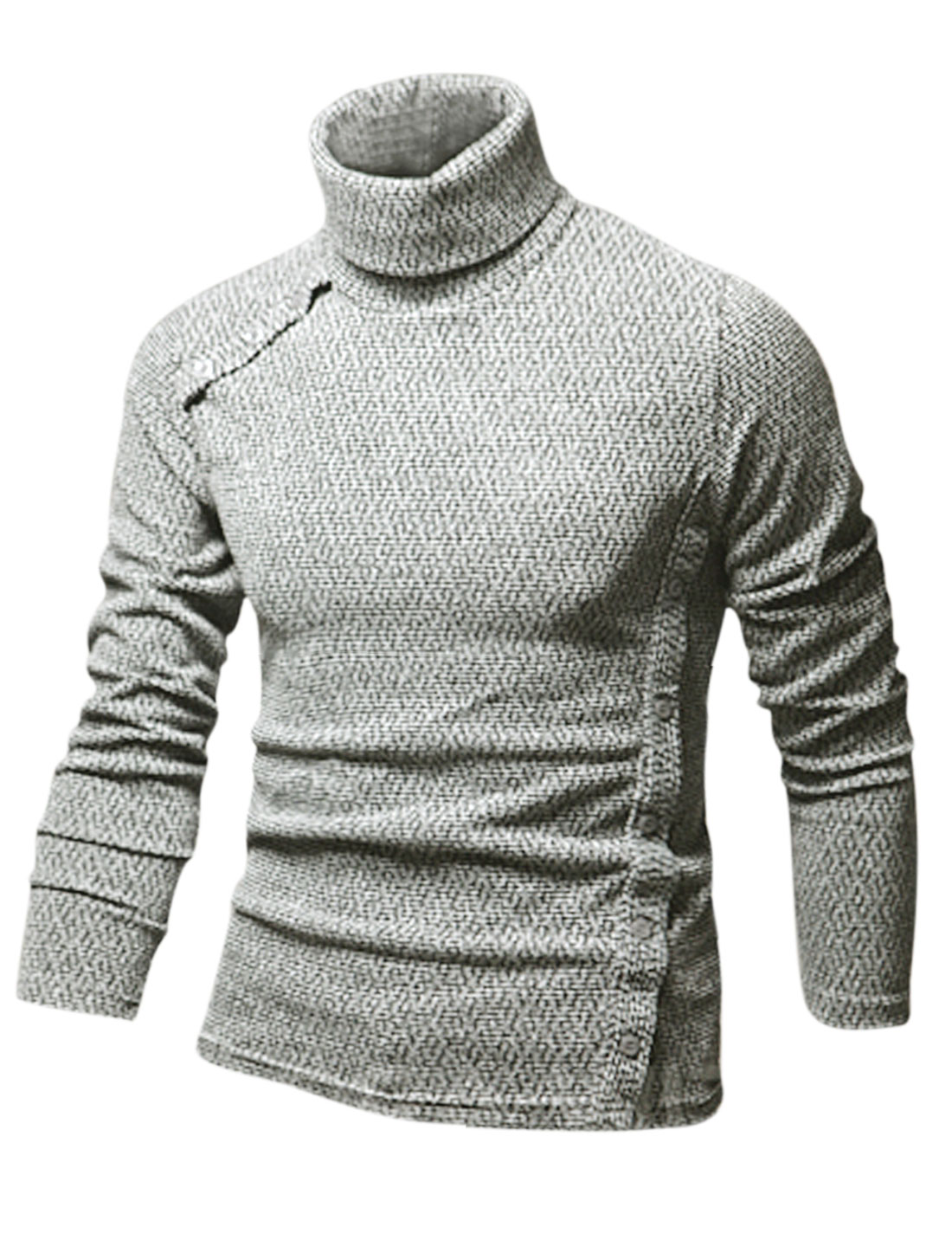 Man Long Sleeve Turtle Neck Casual Shirt Heather Gray M