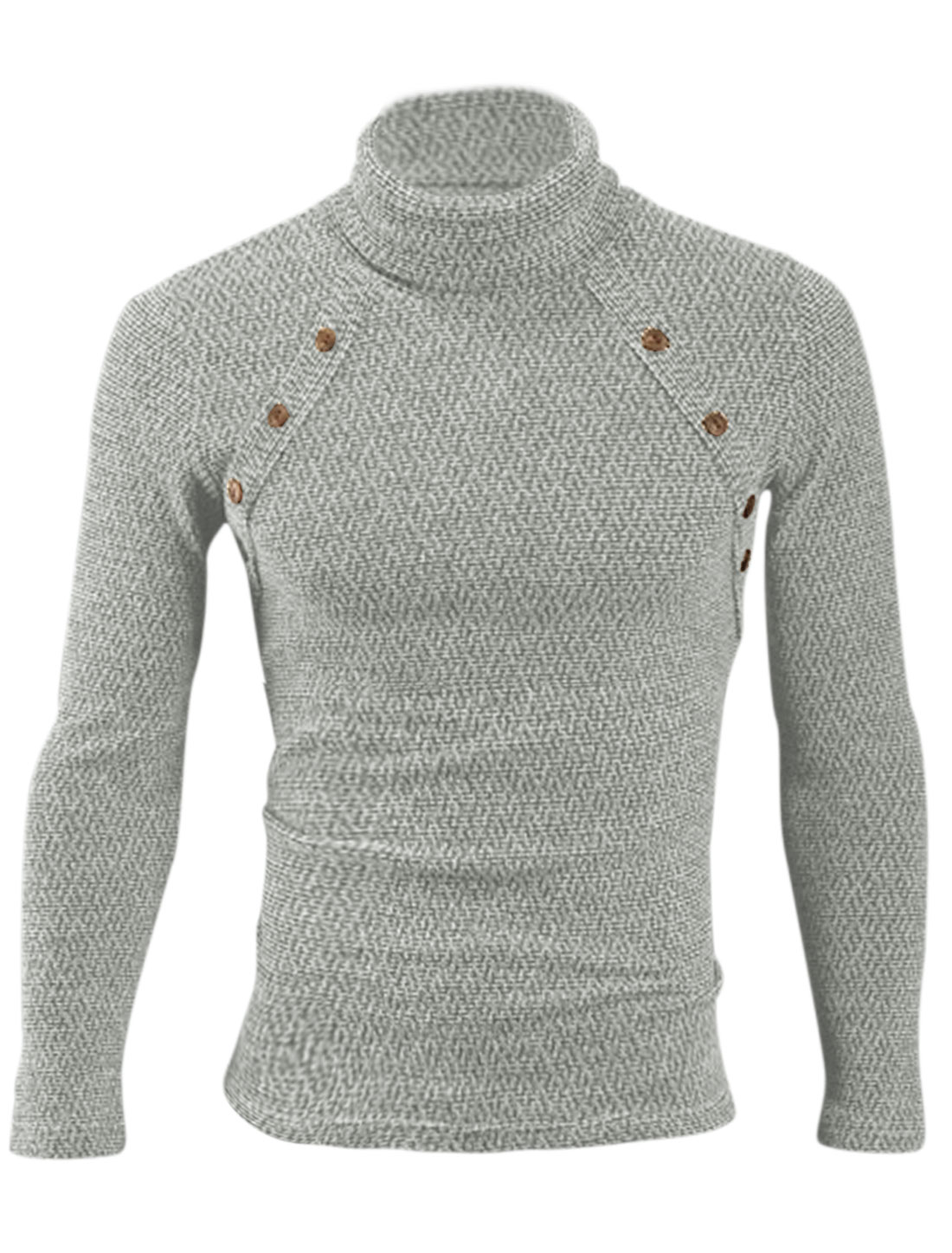 Turtle Neck Buttons Decor Casual Knit Shirt for Men Heather Gray M