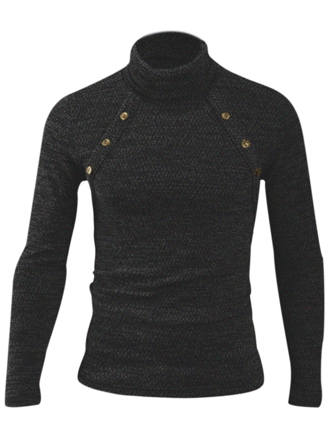 Turtle Neck Buttons Decor Fashion Knit Shirt for Men Black M