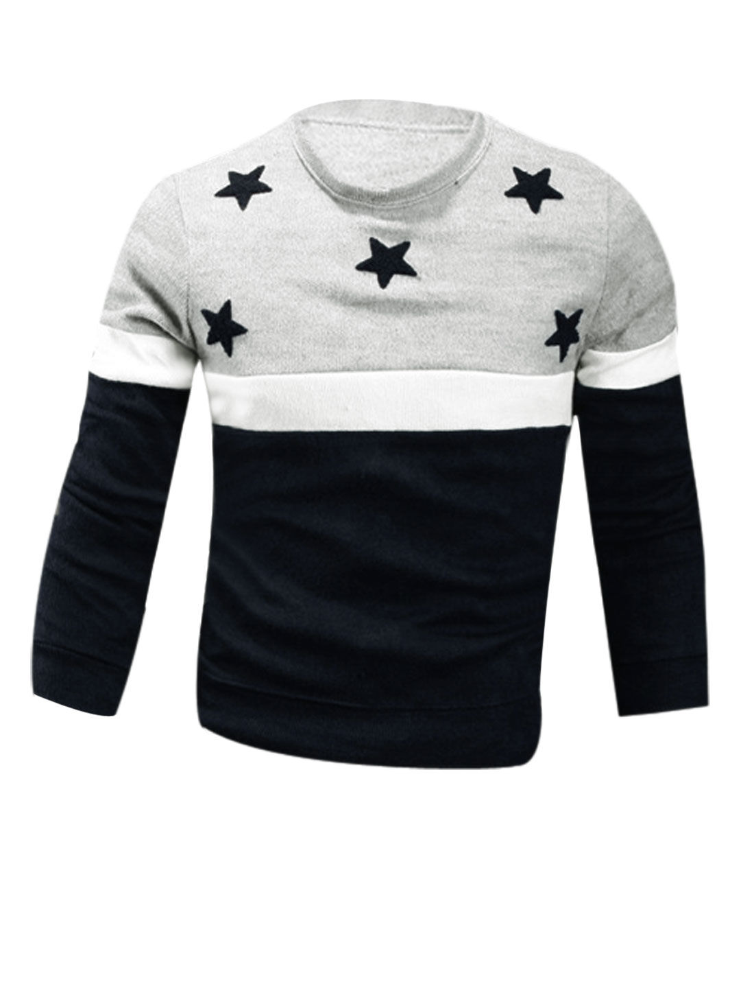 Men Navy Blue Light Gray Round Neck Stars Applique Color Bock Knit Shirt M