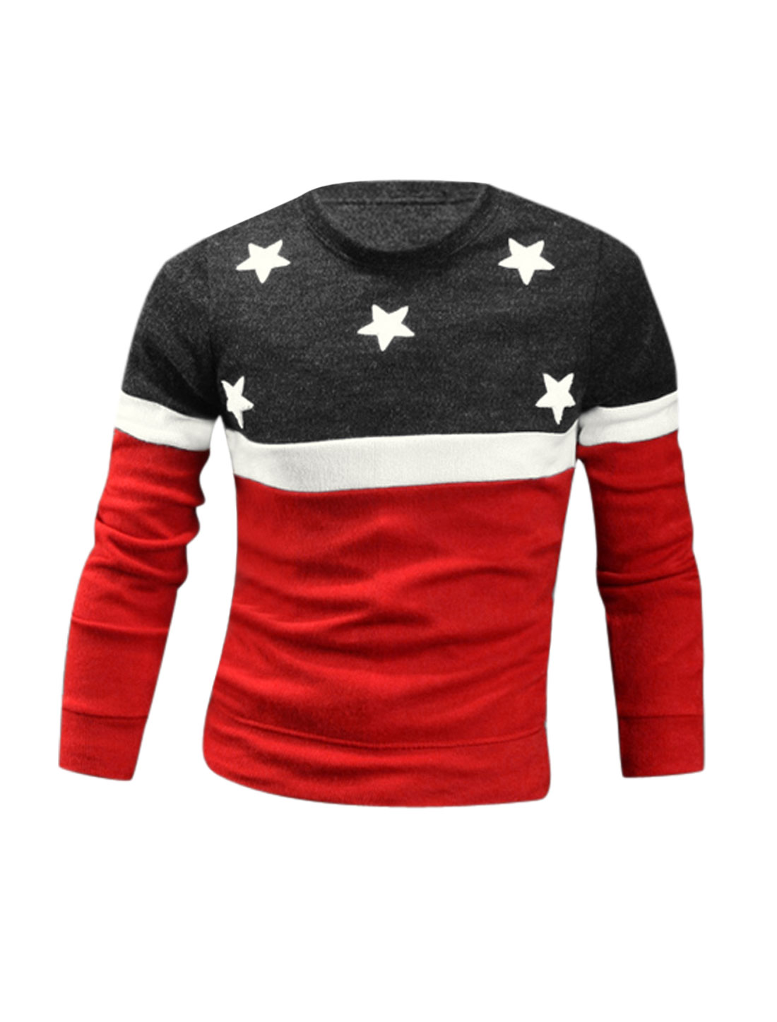 Men Red Dark Gray Round Neck Stars Applique Color Bock Pullover Knit Shirt M