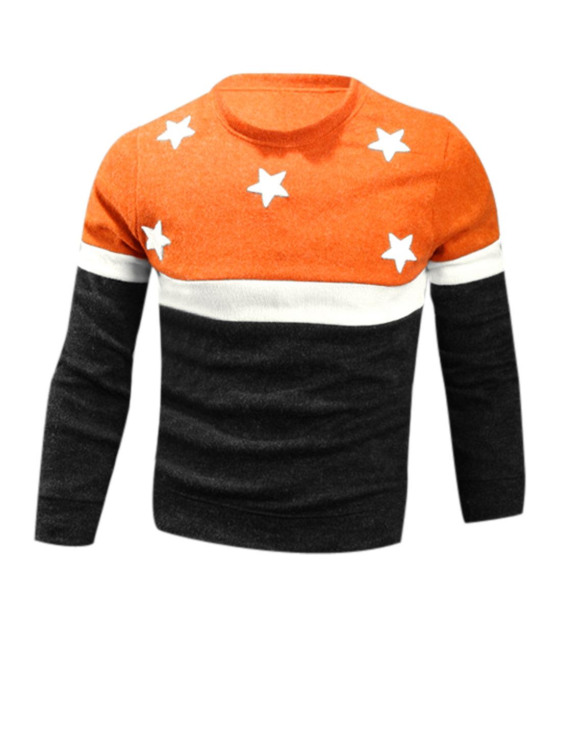 Men Charcoal Orange Round Neck Stars Applique Color Bock Full Sleeves Knit Shirt M