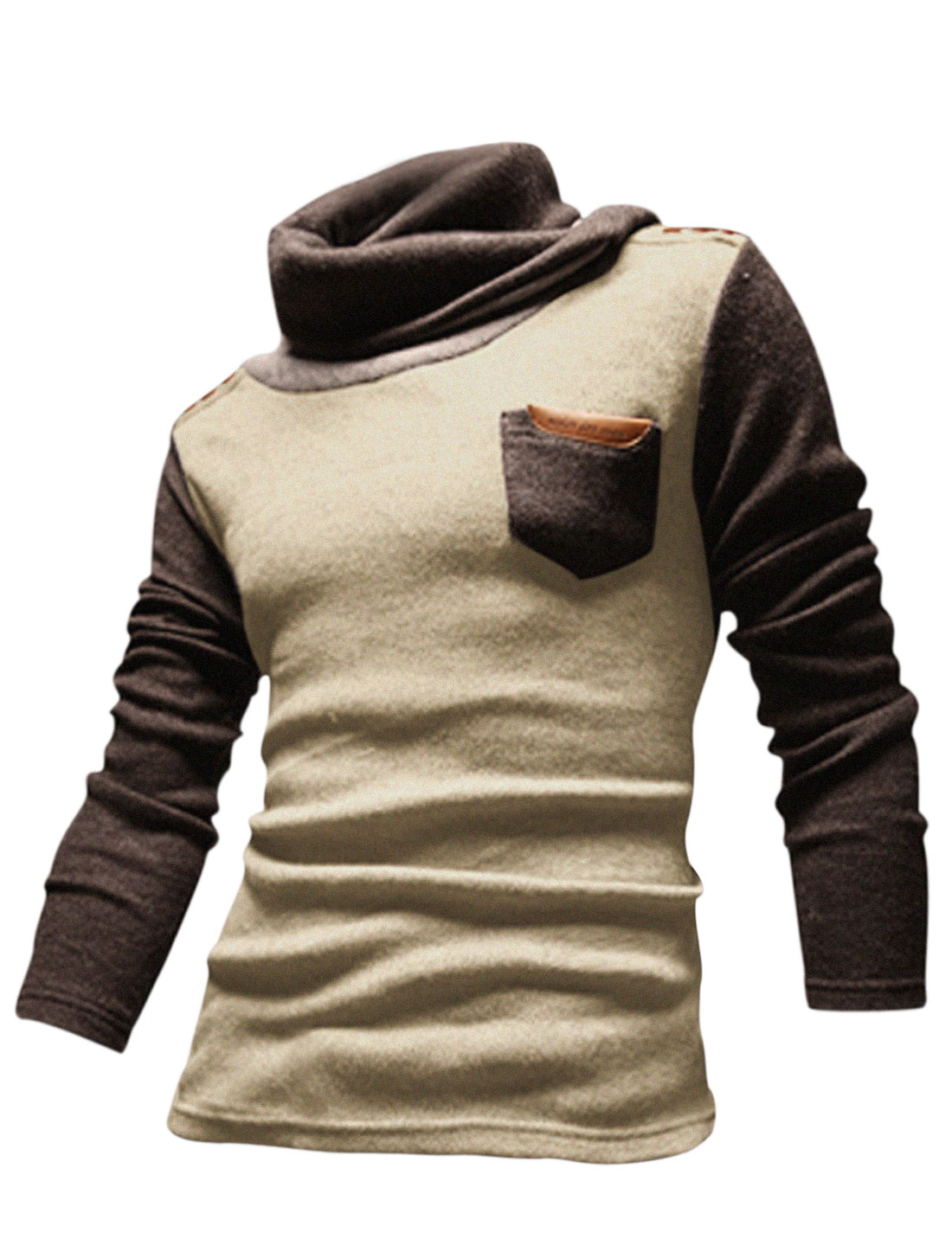 Men Cocoon Neck Contrast Color Chest Pocket Casual Knit Shirt Beige M