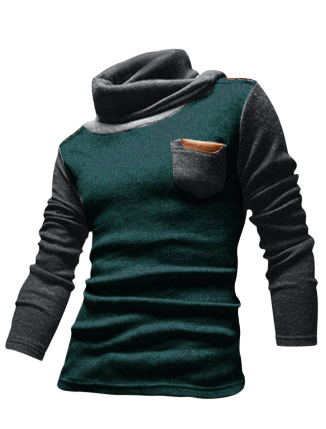 Men Cocoon Neck Contrast Color Two Tone Casual Knit Shirt Dark Green M