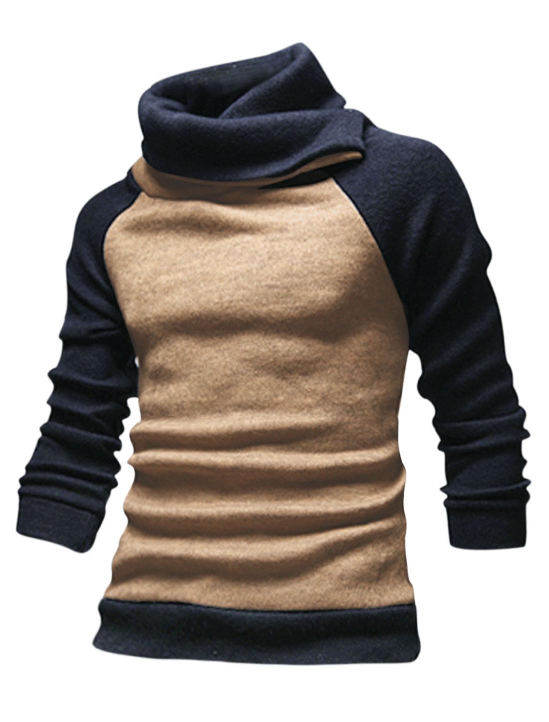 Men Cocoon Neck Contrast Color Slim Fit Casual Knit Shirt Khaki M