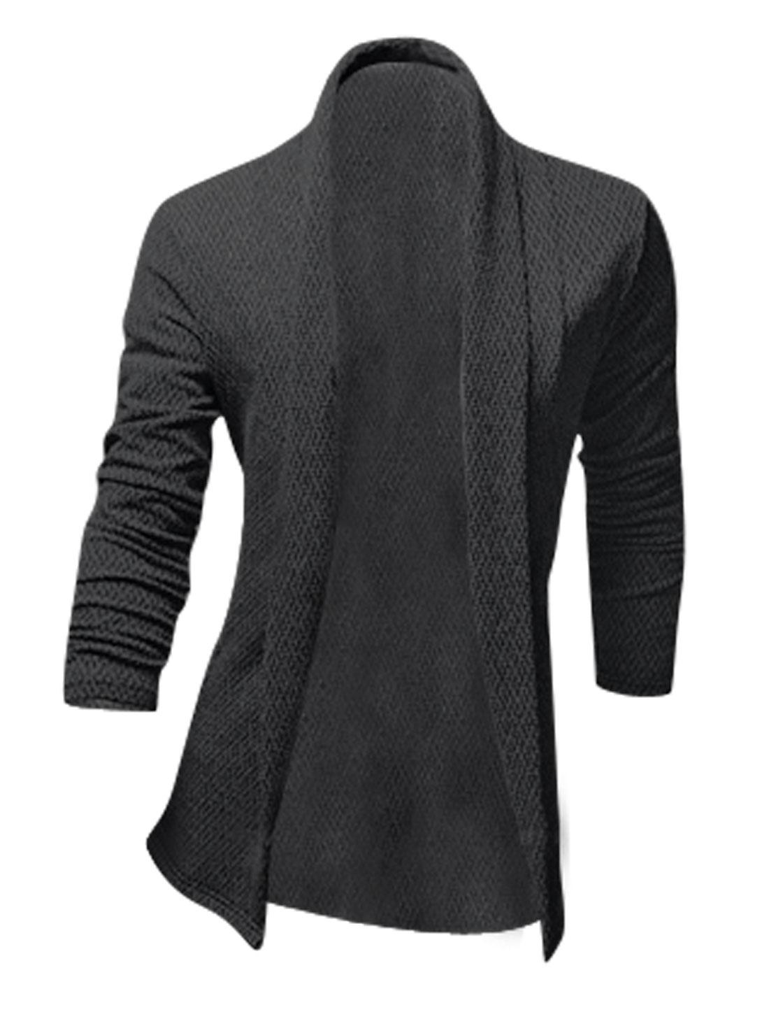 Men Shawl Collar Long Sleeve Front Opening Chic Cardigan Black M