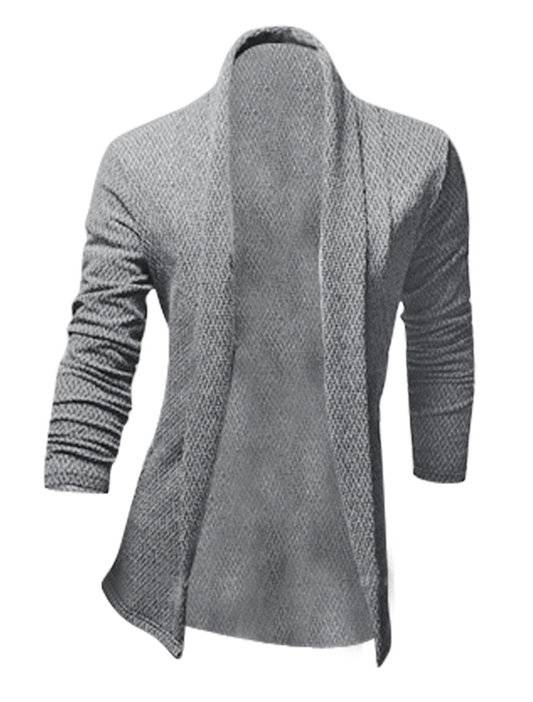 Men Long Sleeve Shawl Collar Slim Fit Fashion Cardigan Light Cool Gray M