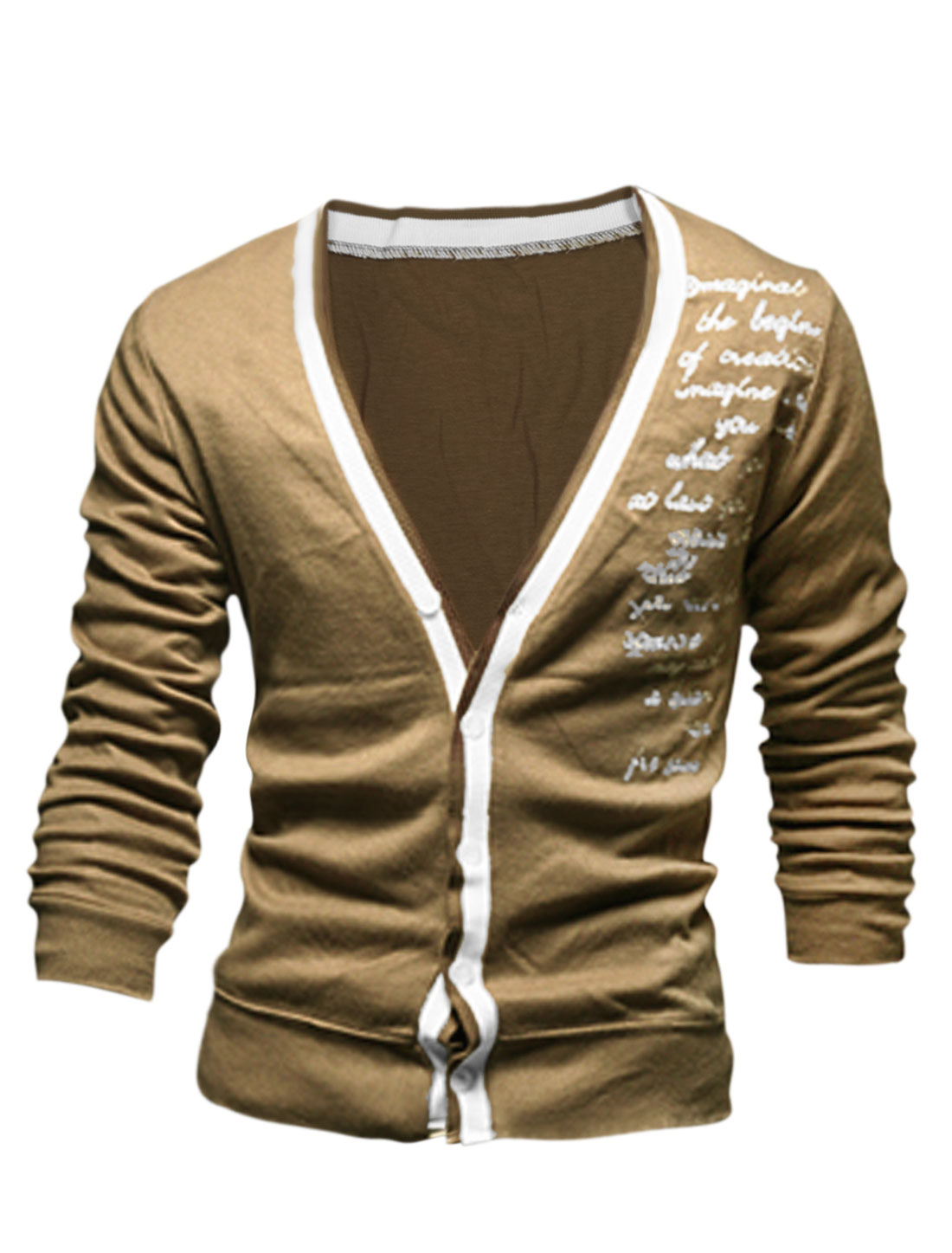 Men Long Sleeve Letters Embroidery Single Breasted Cardigan Camel M