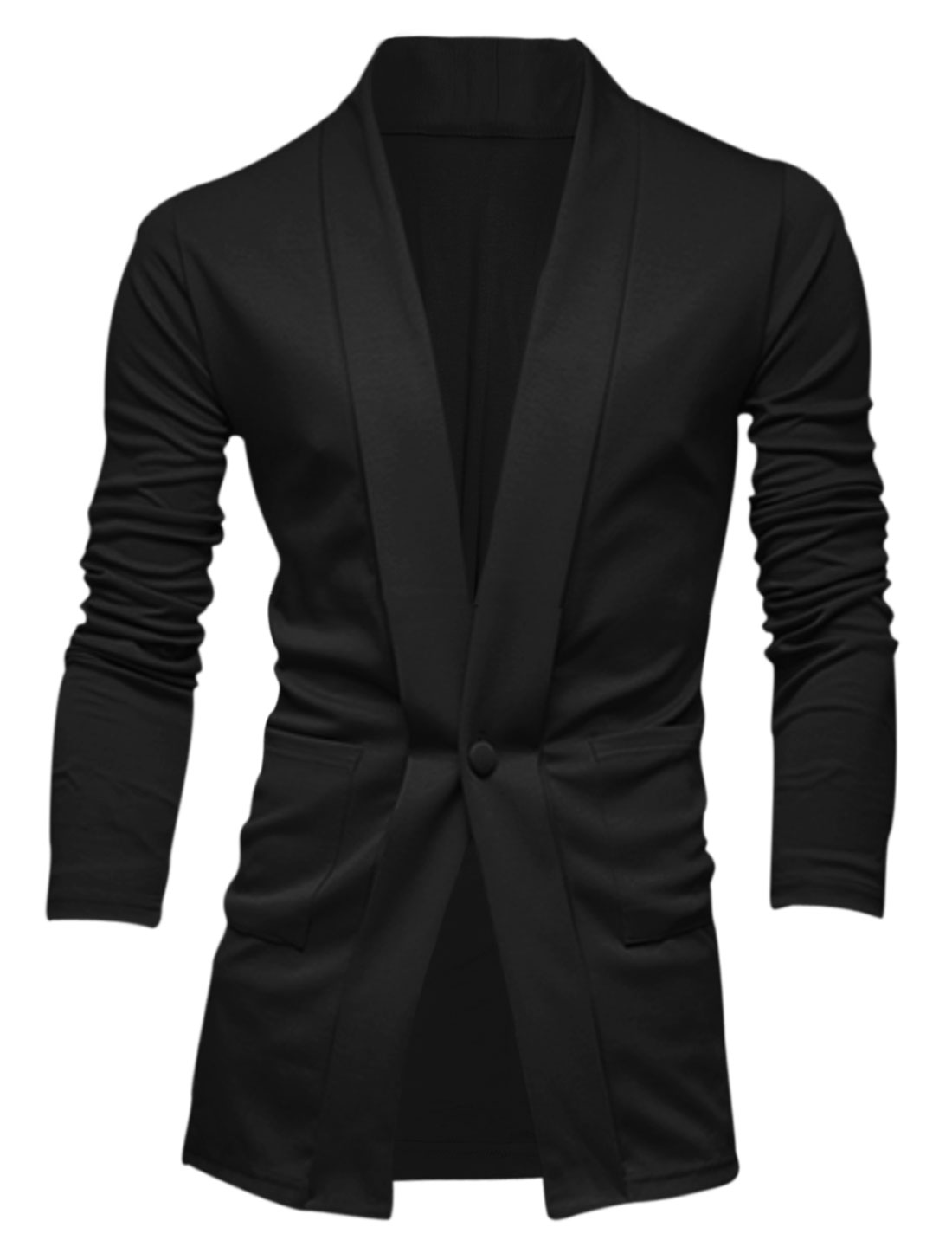 Men Shawl Collar One Button Two Front Pockets Leisure Cardigan Black L