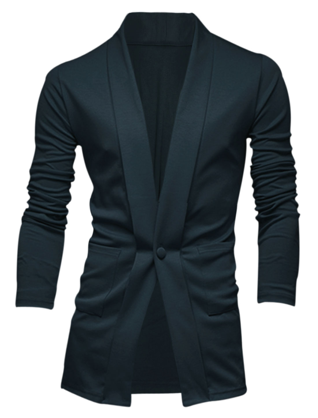 Men Shawl Collar Long Sleeve Two Front Pockets Leisure Cardigan Navy Blue L