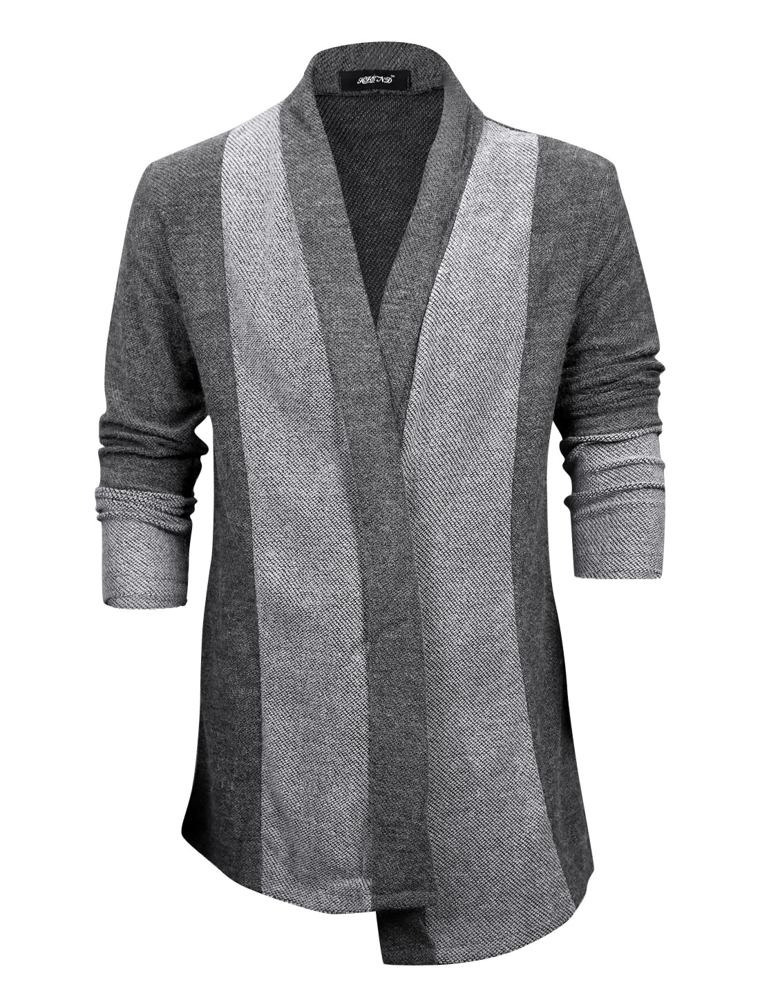 Men Shawl Collar Contrast Color Casual Long Knit Cardigan Dark Gray M