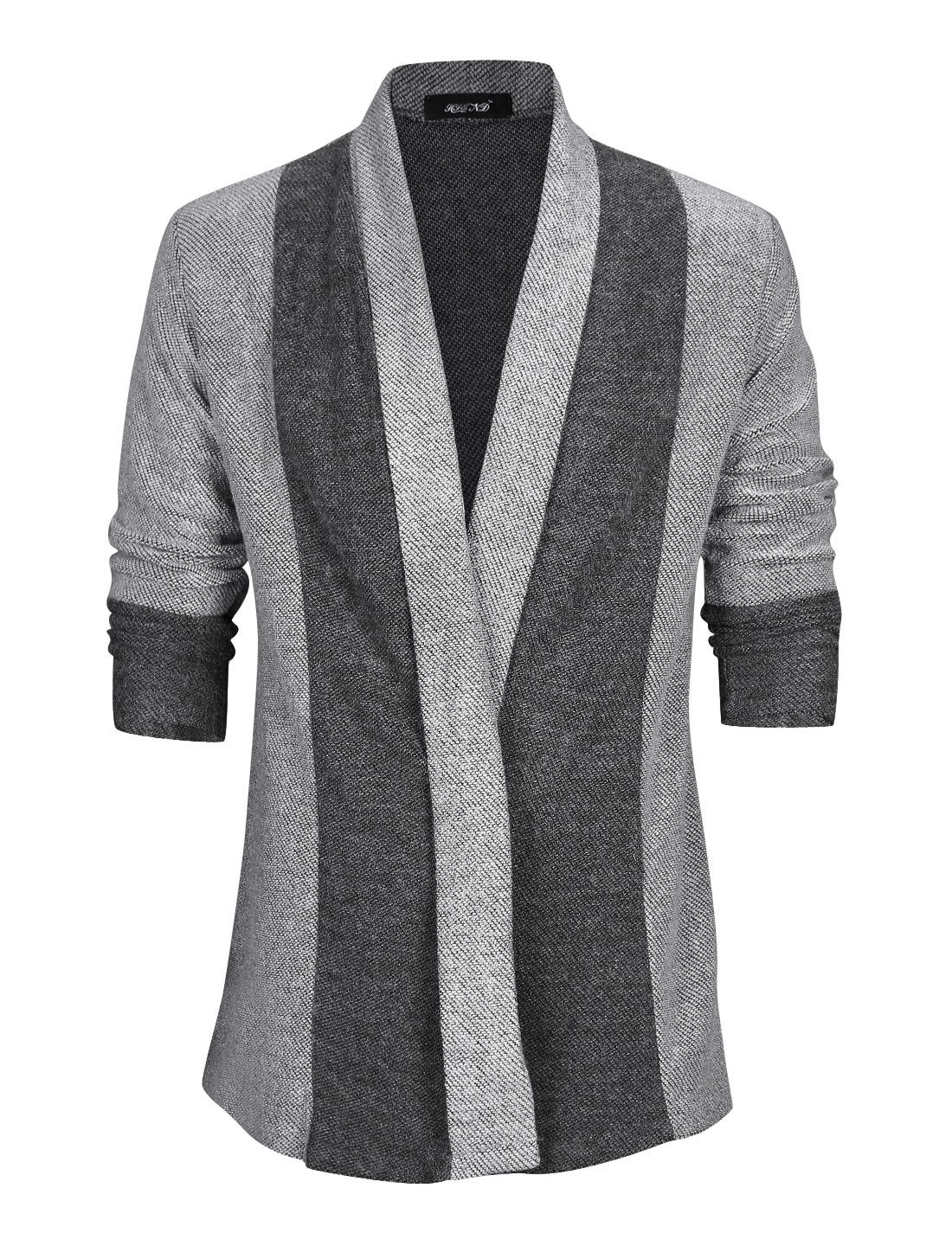 Men Shawl Collar Color Block Casual Long Knit Cardigan Light Gray M