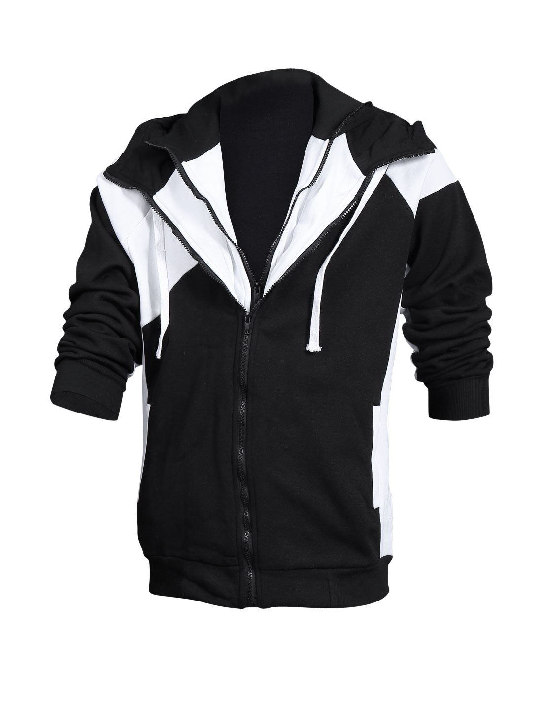 Man Black Double Zip Up Contrast Color Drawstring Detail Hoodie Jacket M