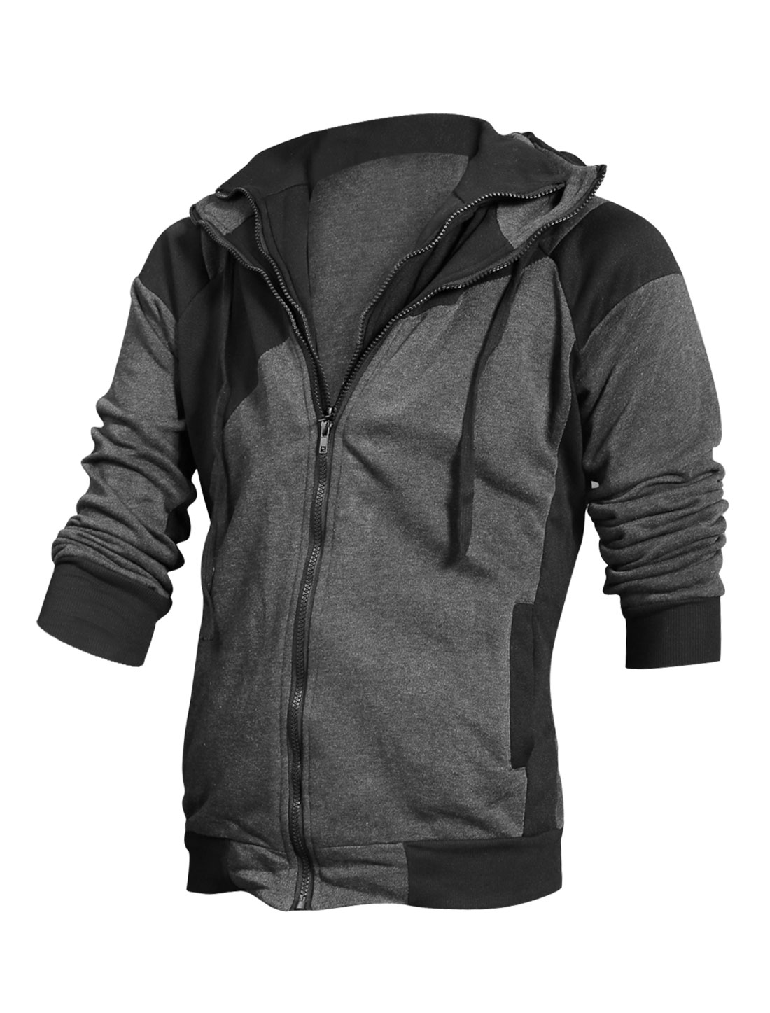 Man Dark Gray Double Zipper Front Pockets Drawstring Detail Hoodie Jacket M