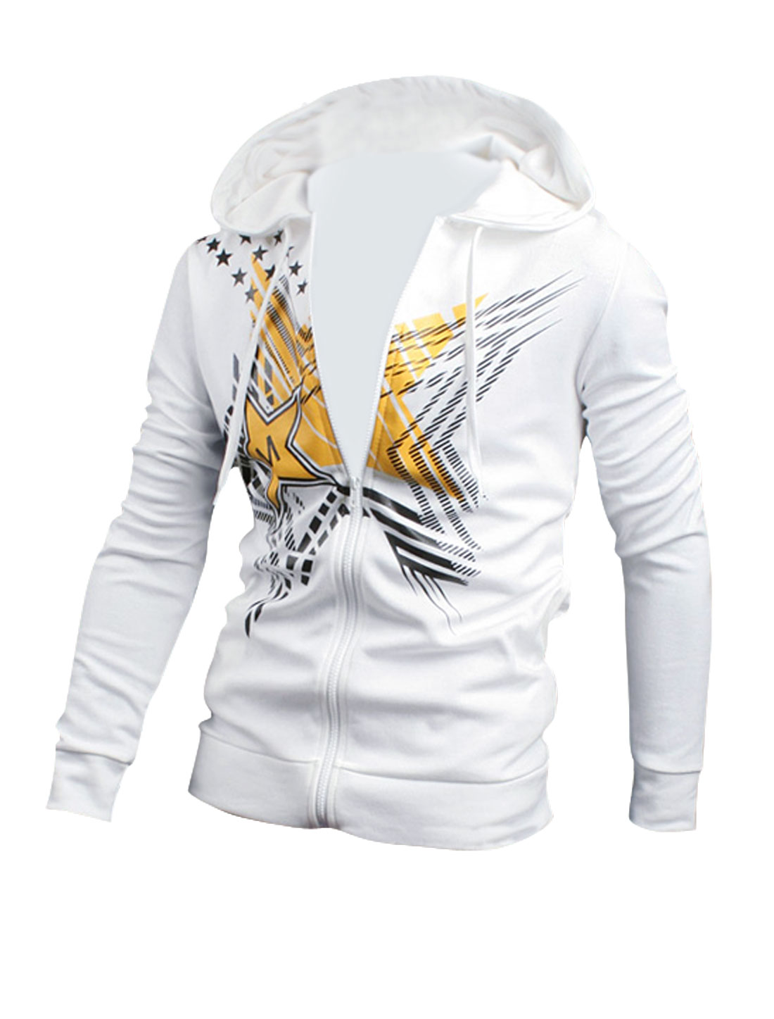 Men Slant Pockets Drawstring Zip Up Hooded Jacket White M
