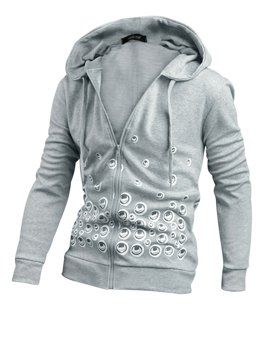Men Light Gray Novelty Pattern Two Pockets Drawstring Zip Up Hoodie M