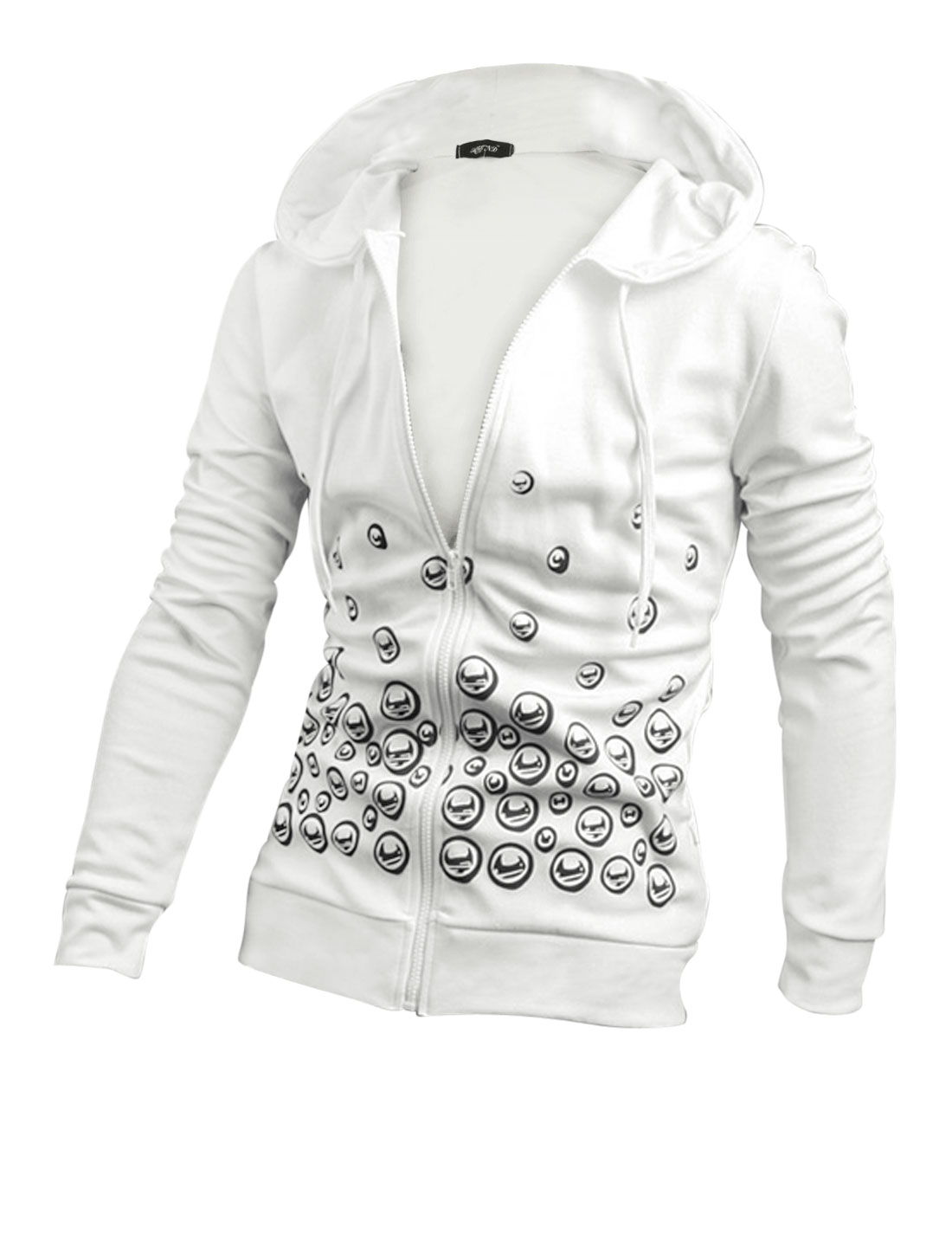 Men White Novelty Pattern Two Pockets Full Sleeves Zippered Hoodie M