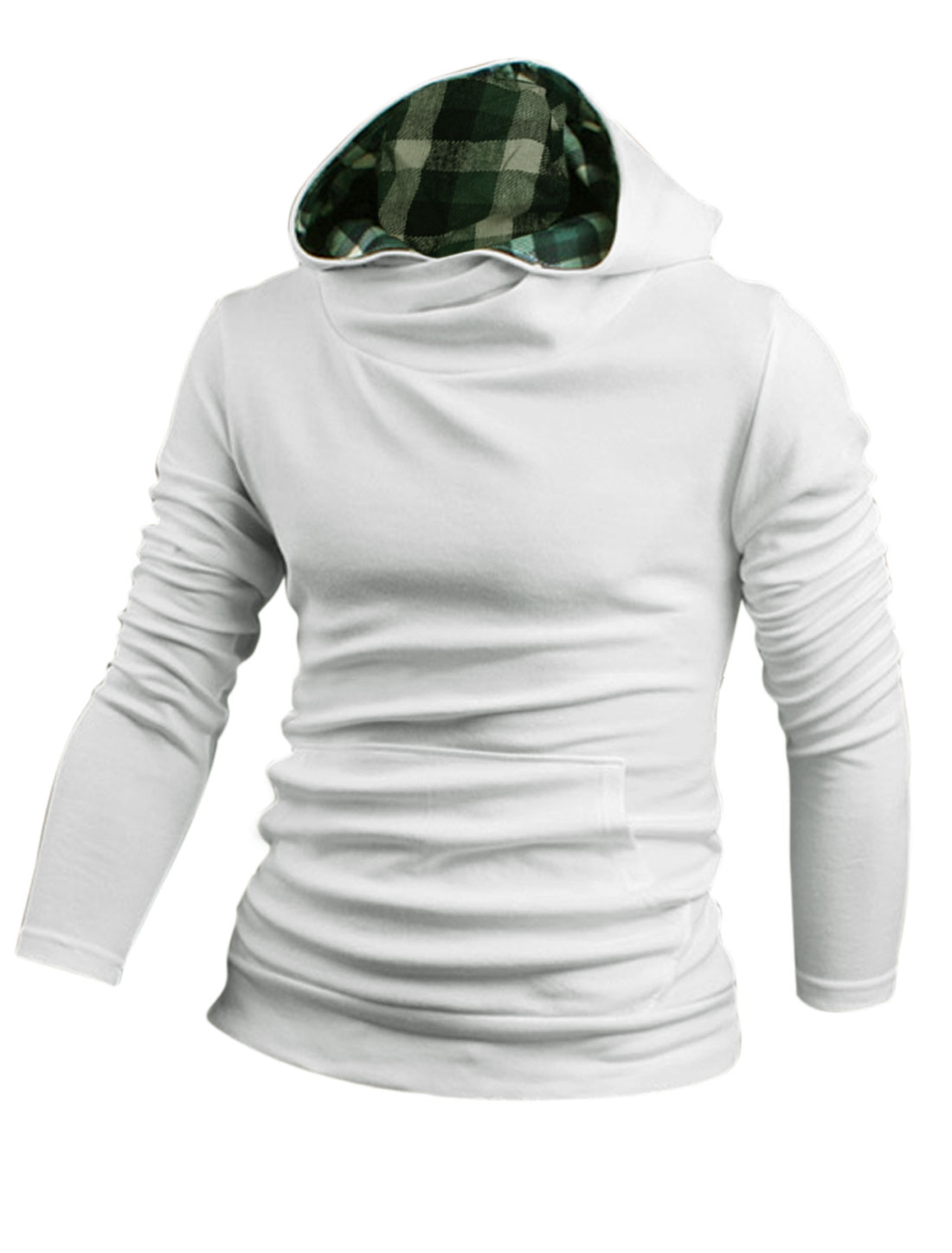 Men Hooded Long Sleeves Plaids Detail New Fashion Sweatshirt White M