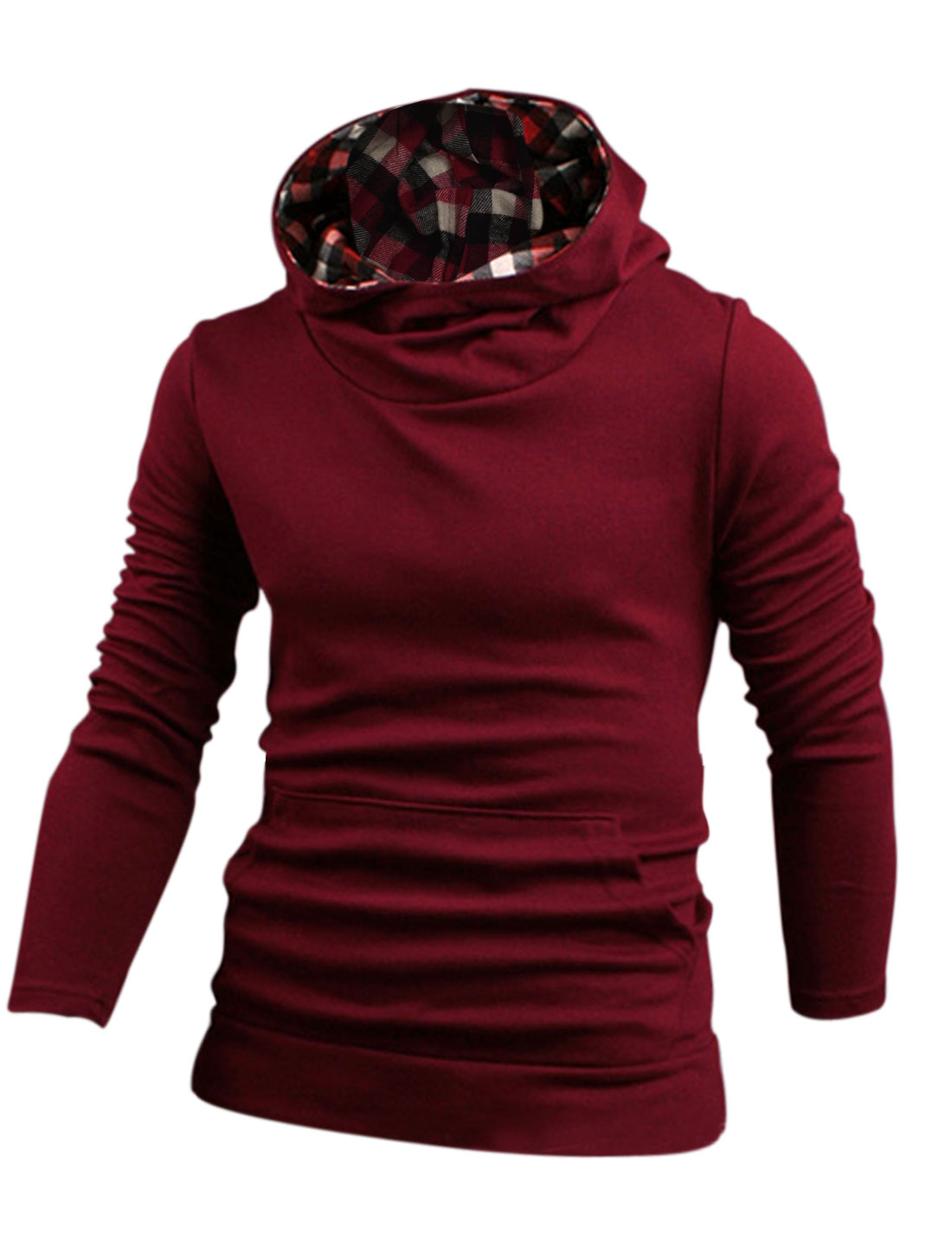 Men Hooded Kangaroo Pocket Pullover Casual Sweatshirt Burgundy M