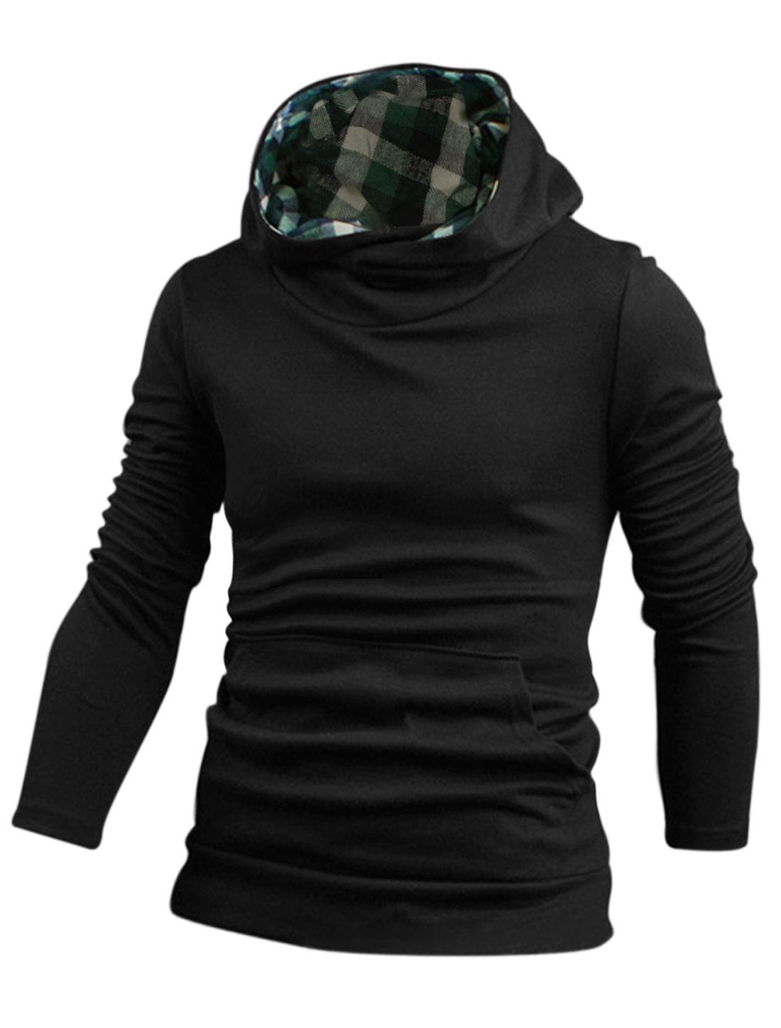 Men Hooded Checks Detail Kangaroo Pocket Chic Sweatshirt Black M