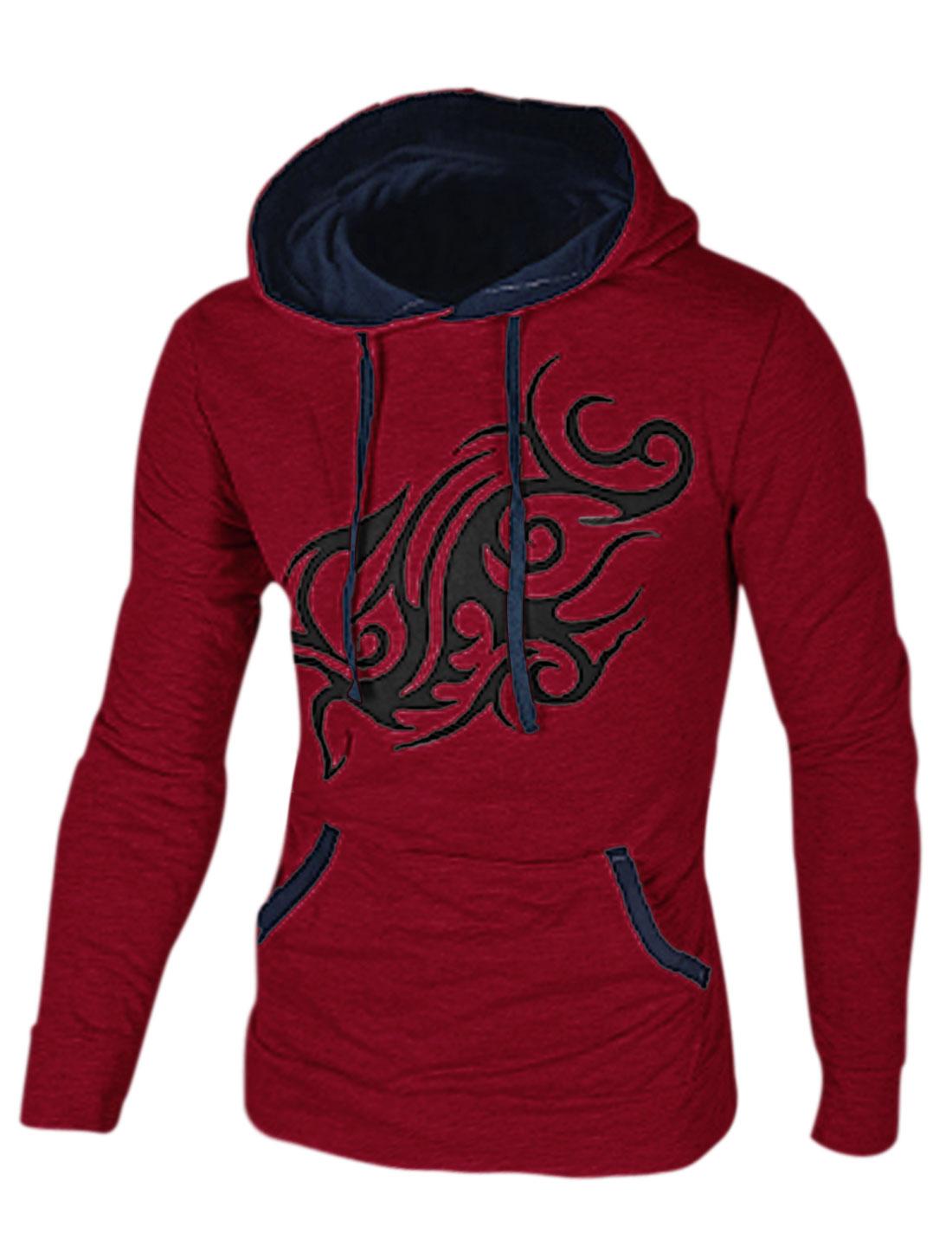 Men Dragon Prints Contrast Collar Long Sleeve Hoodie Burgundy M