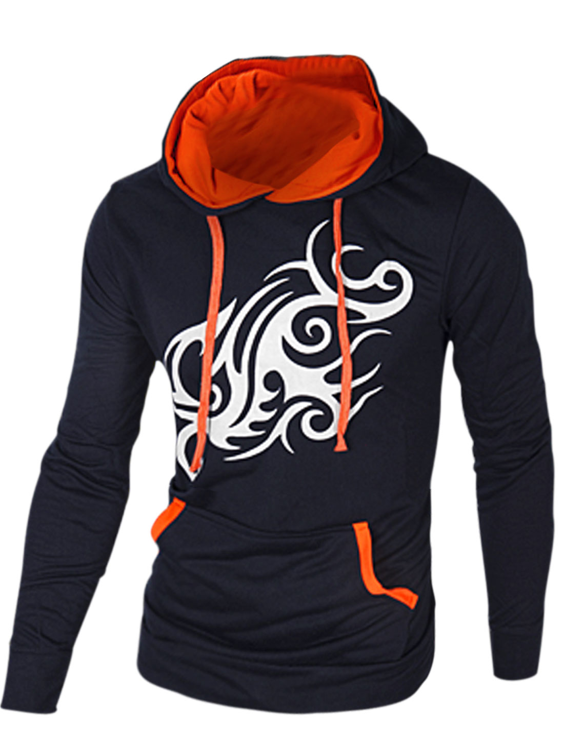 Pullover Dragon Prints Casual Navy Blue Hoodie for Men M