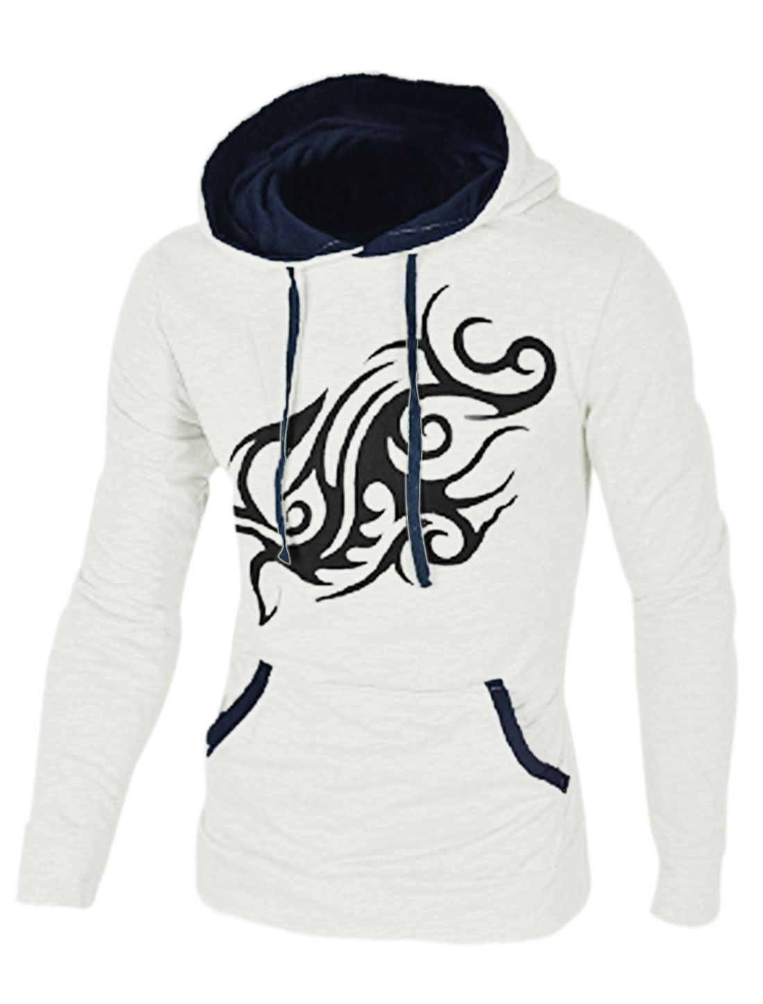 Dragon Prints Contrast Color Leisure White Hoodie for Man M