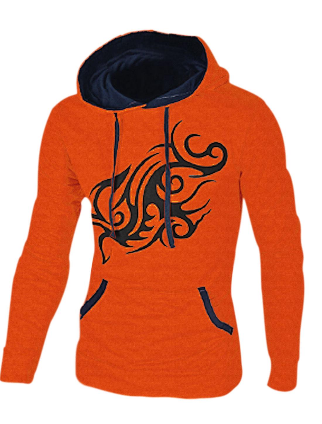 Man Slim Fit Color Blocking Dragon Prints Orange Hoodie M