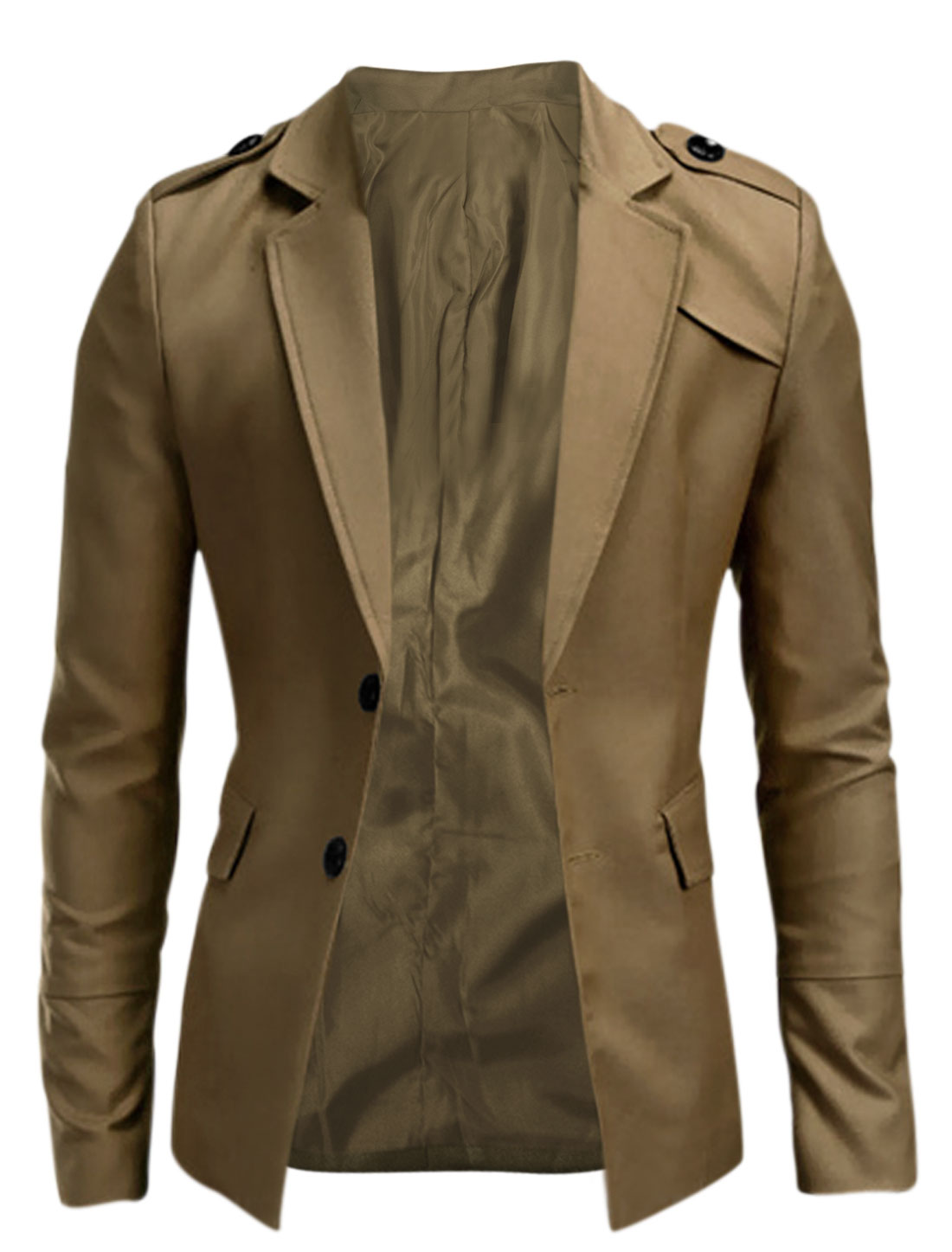 Men Padded Shoulder Notched Lapel Blazer Jacket Khaki M